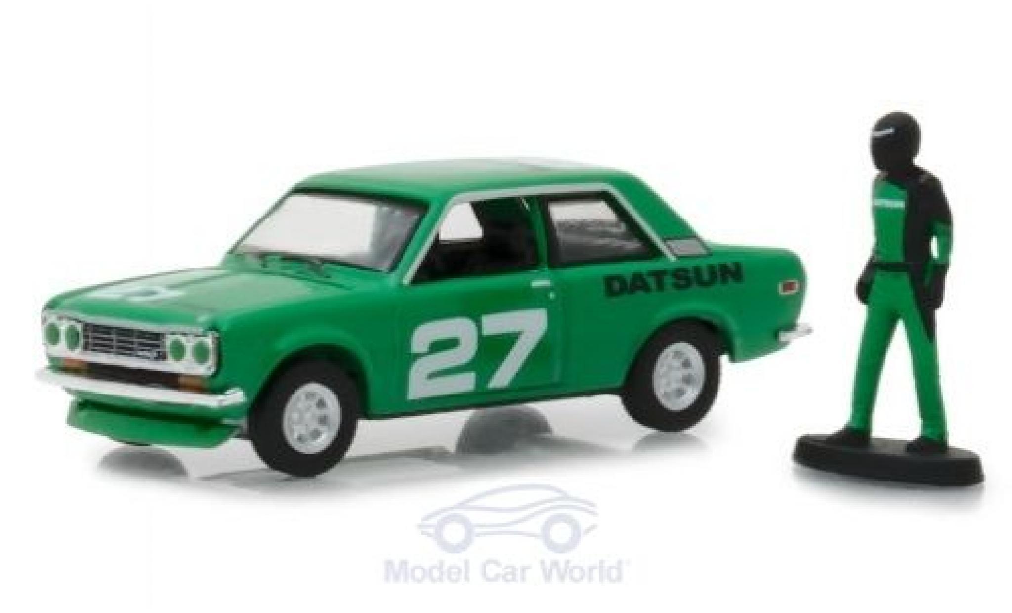 Datsun 510 1/64 Greenlight verte 1970 mit Rennfahrer Figur