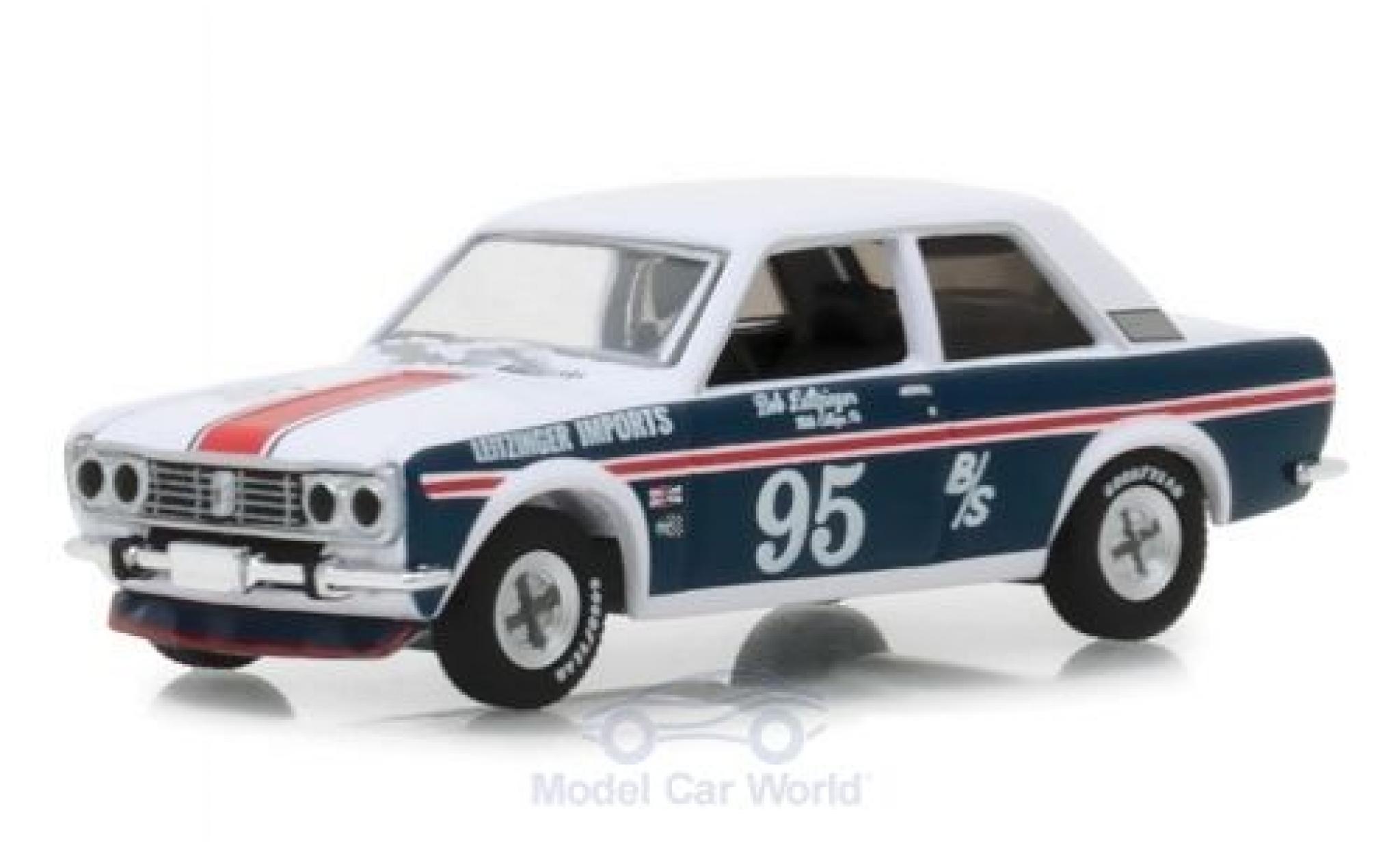 Datsun 510 1/64 Greenlight blanche/bleue 1969