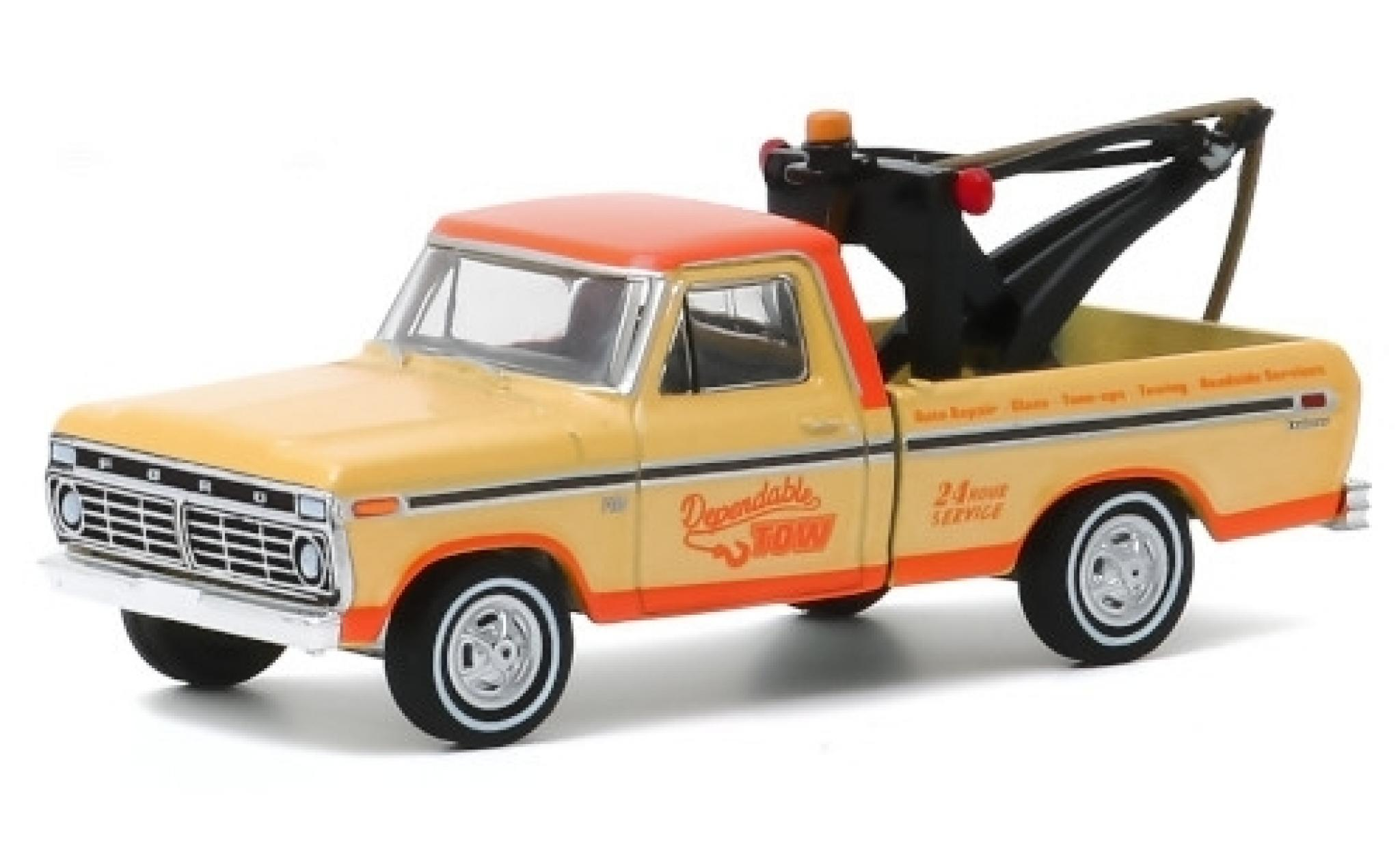 Ford F-1 1/64 Greenlight 00 Tow Truck beige/orange Dependable Tow 1973