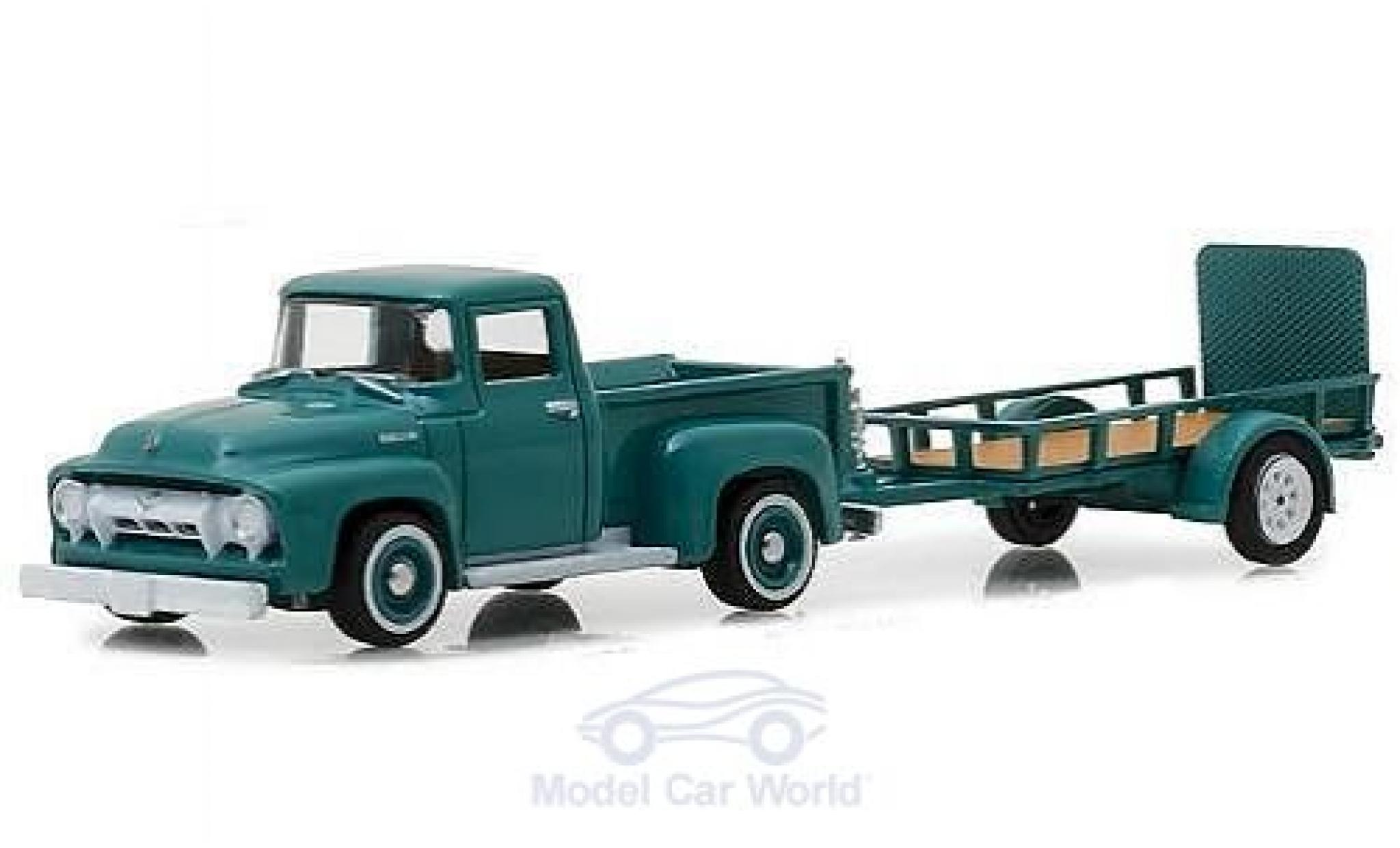 Ford F-1 1/64 Greenlight 00 turquoise 1954 mit Anhänger