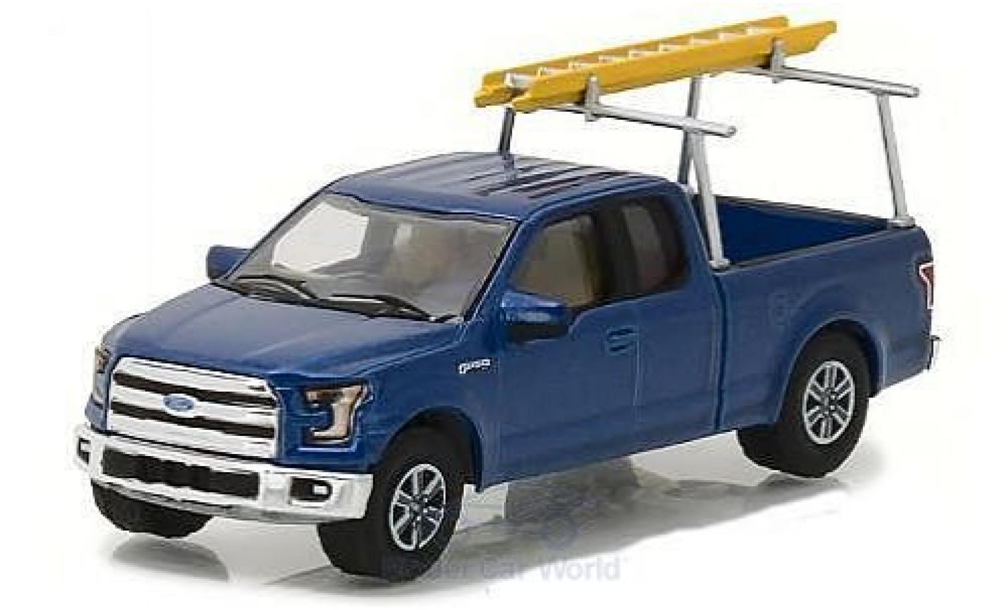 Ford F-1 1/64 Greenlight 50 metallic-bleue 2015 with Ladder Rack