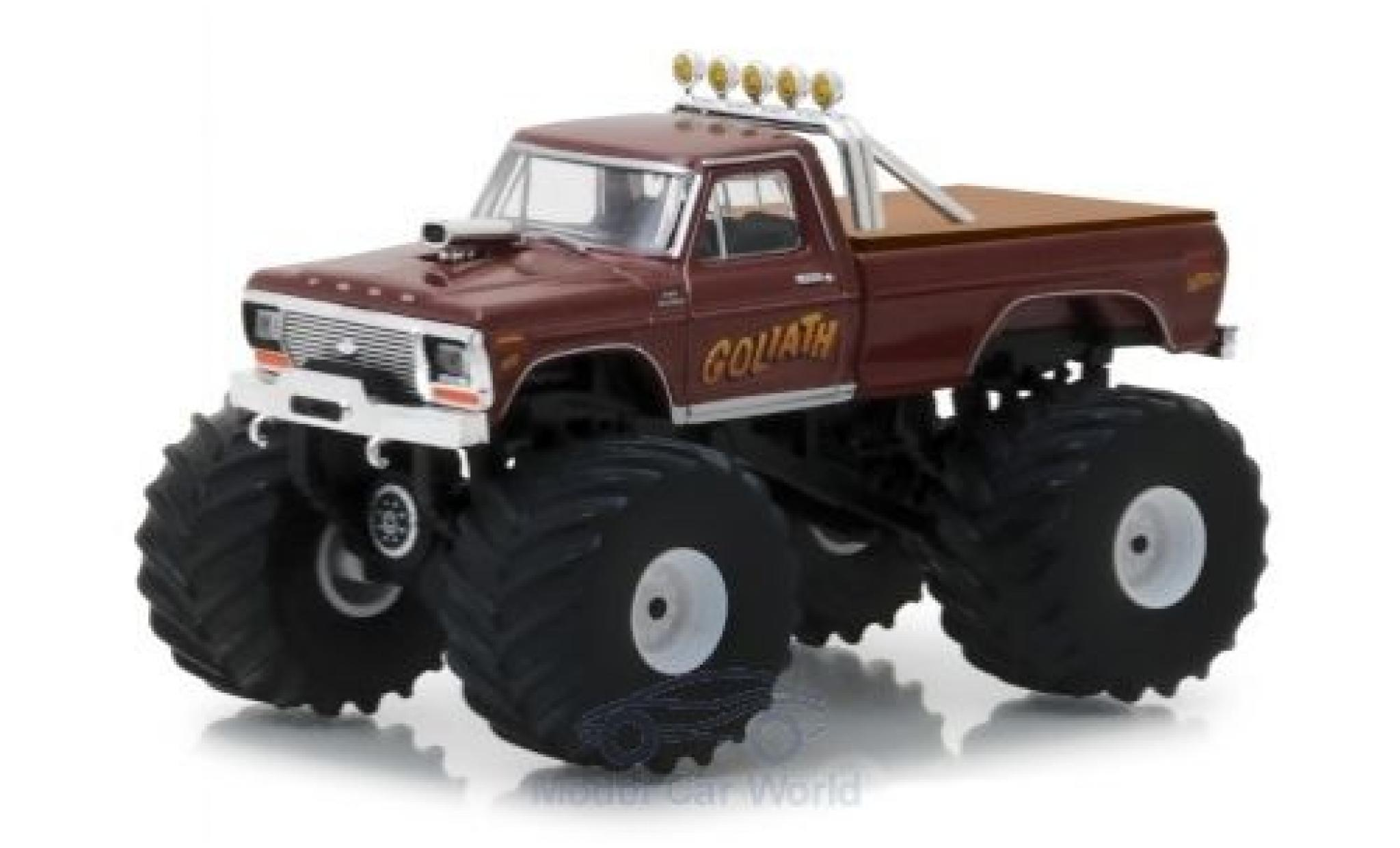 Ford F-250 1/64 Greenlight Monster Truck métallisé marron Goliath 1979
