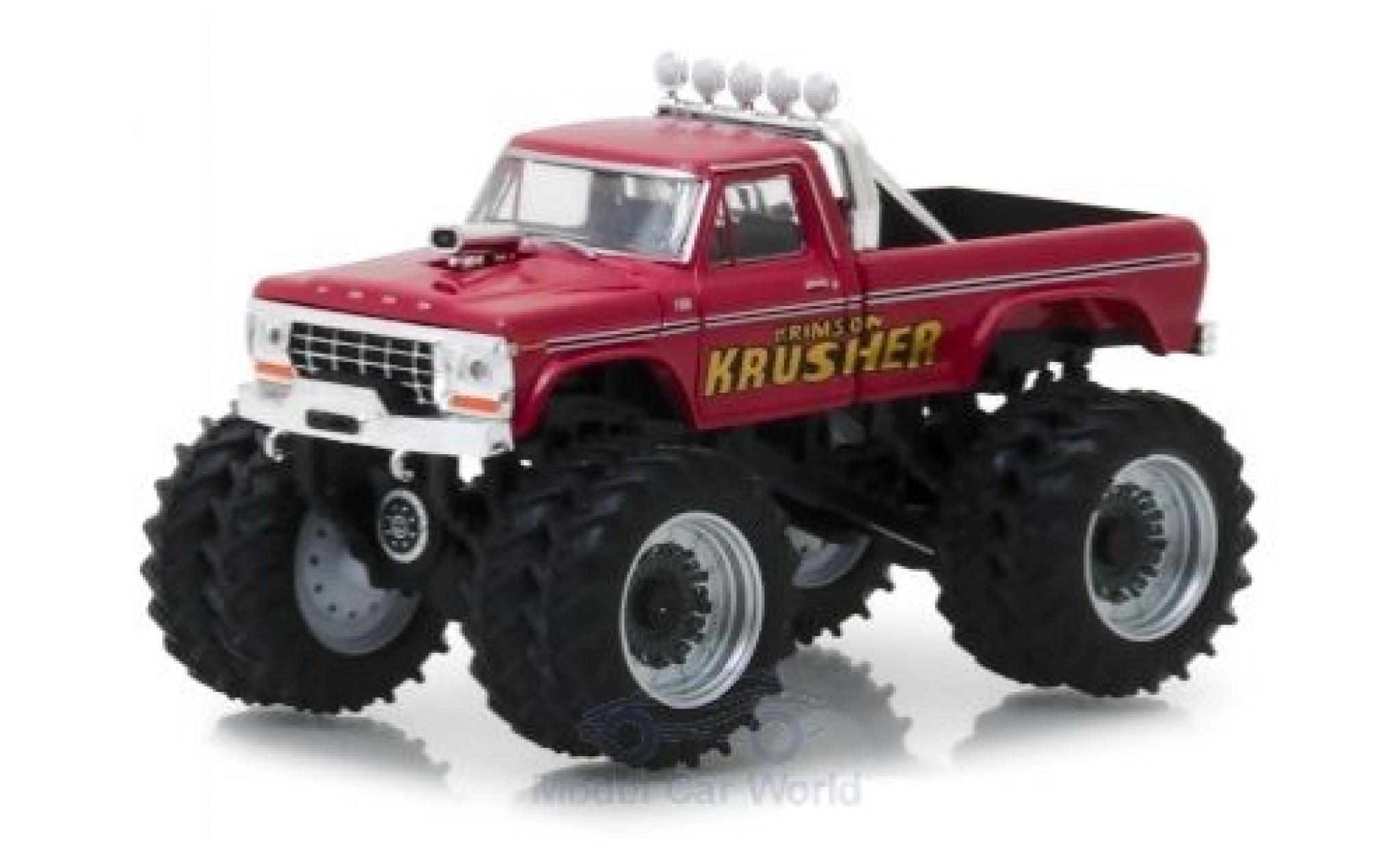 Ford F-250 1/64 Greenlight Monster Truck rouge Krimson Krusher 1973