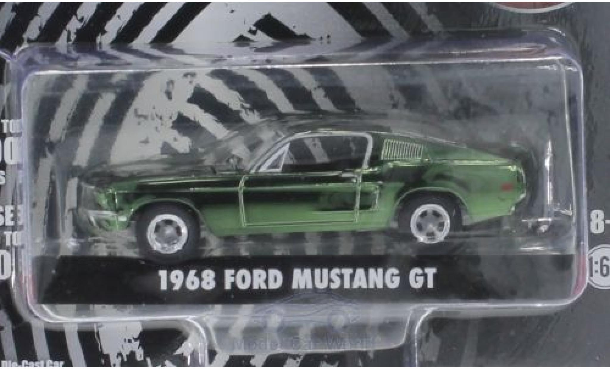 Ford Mustang GT 1/64 Greenlight chrom/verte Bullitt 1968