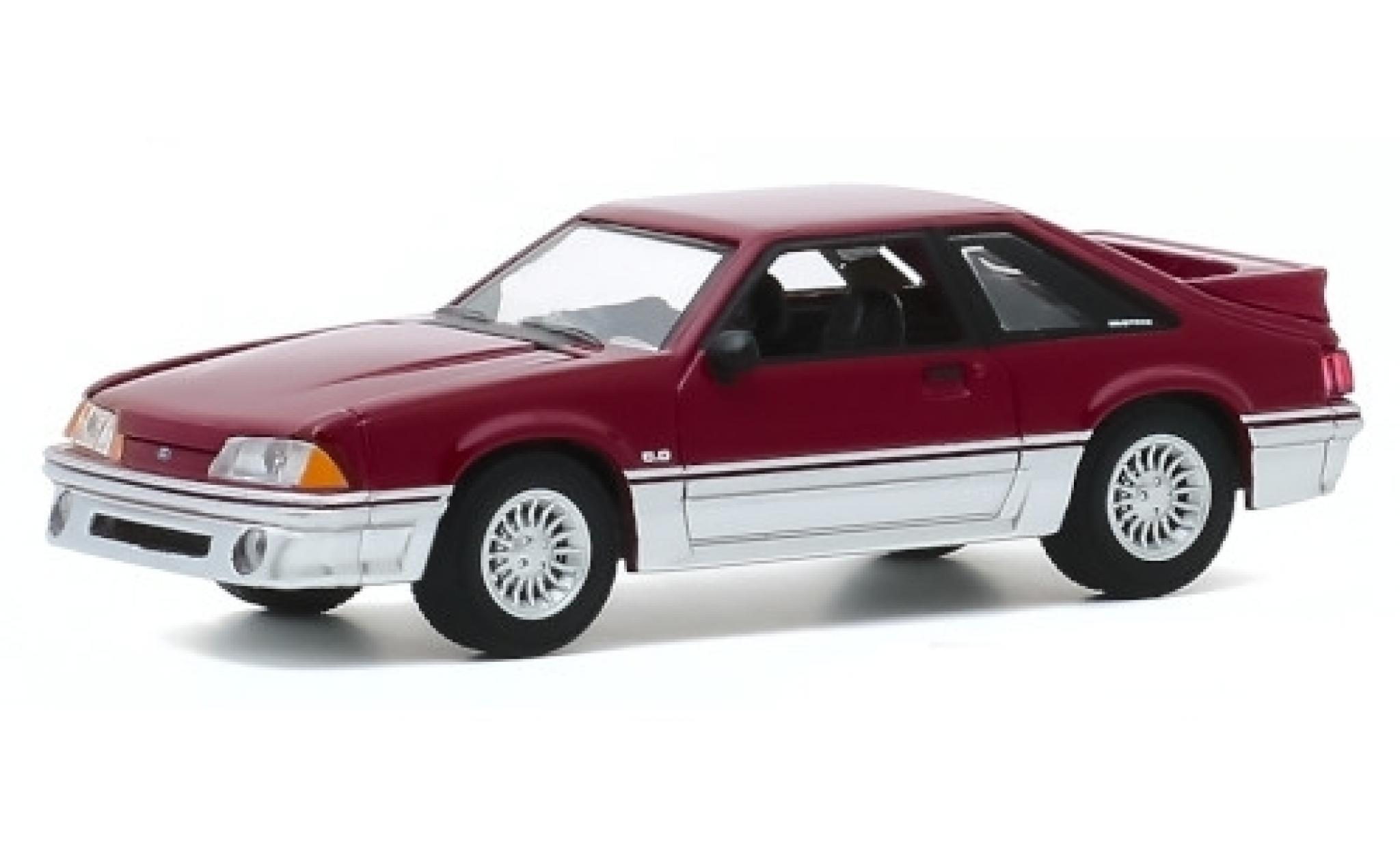 Ford Mustang 1/64 Greenlight GT rouge/grise 1988