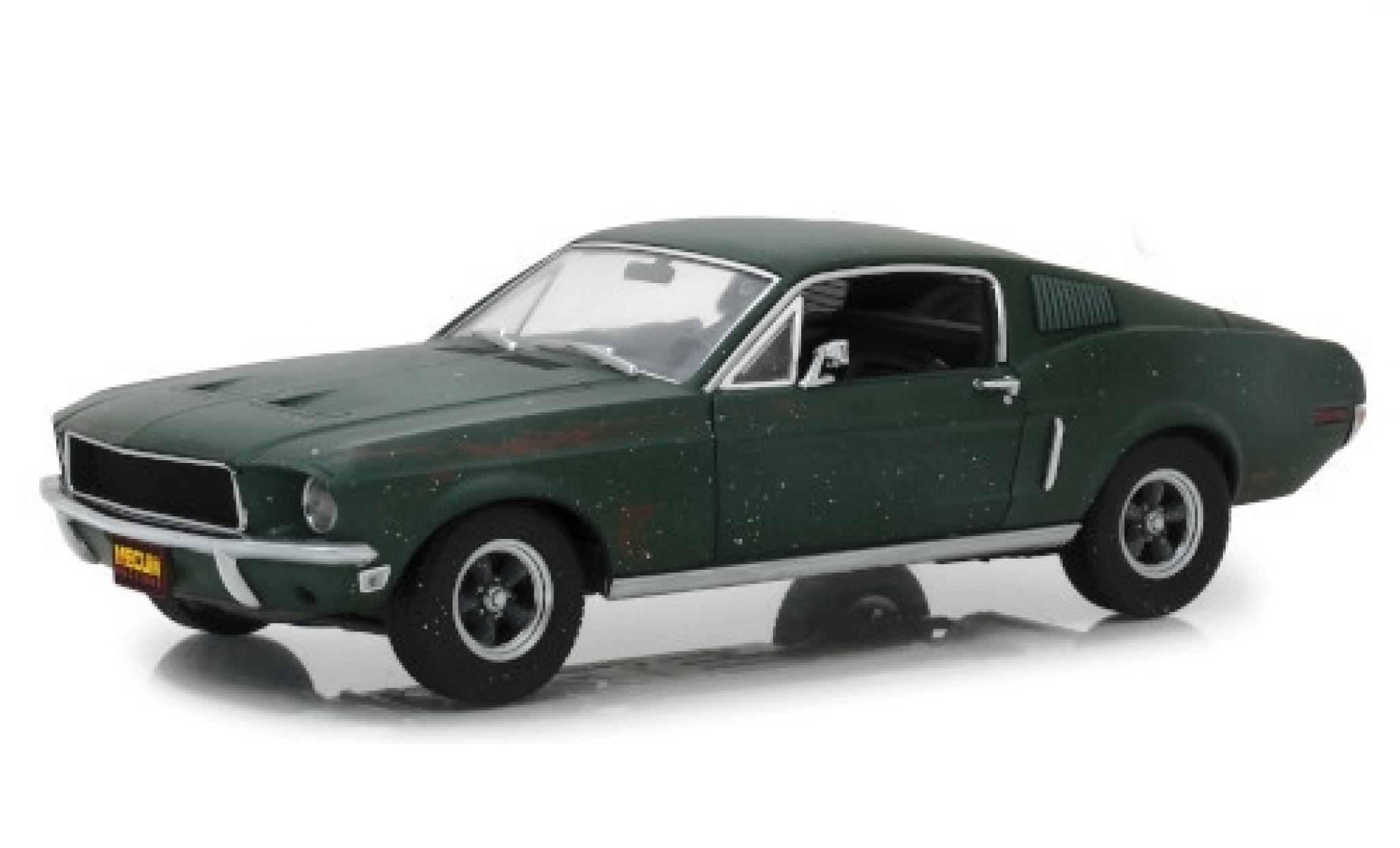 Ford Mustang 1/18 Greenlight GT Fastback métallisé verte Bullitt 1968 unrestauriert mit Stickerbogen