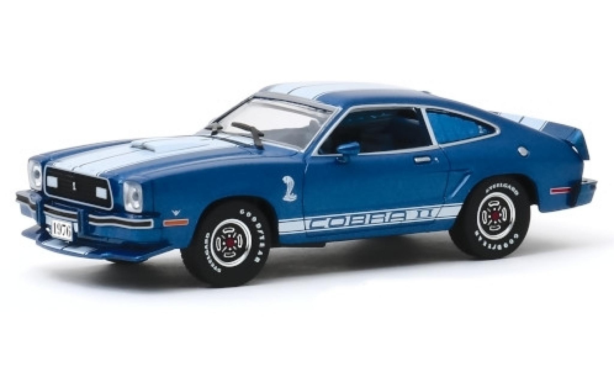Ford Mustang 1/43 Greenlight II Cobra II metallise bleue/blanche 1976