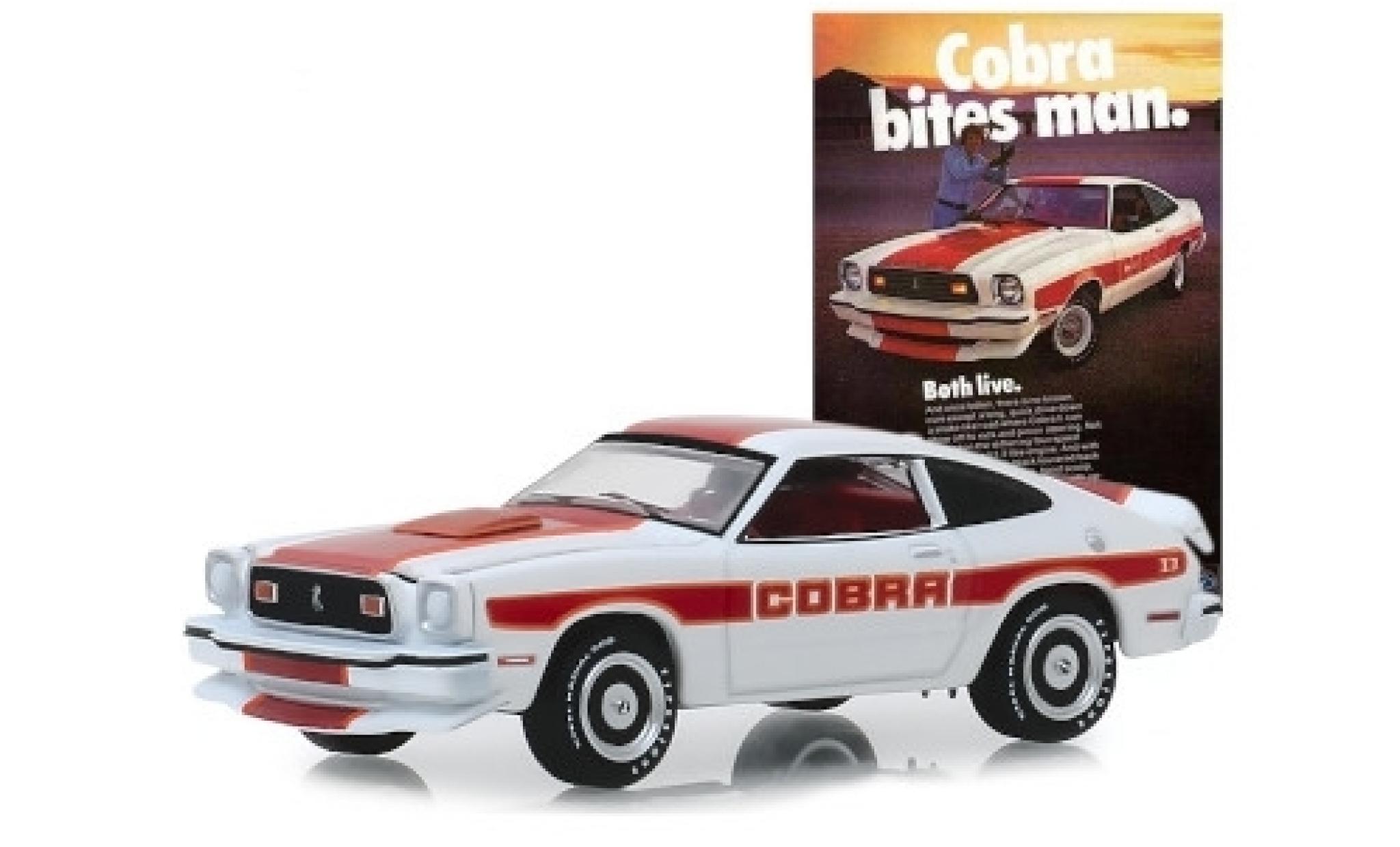 Ford Mustang 1/64 Greenlight II Cobra II blanche/rouge 1978