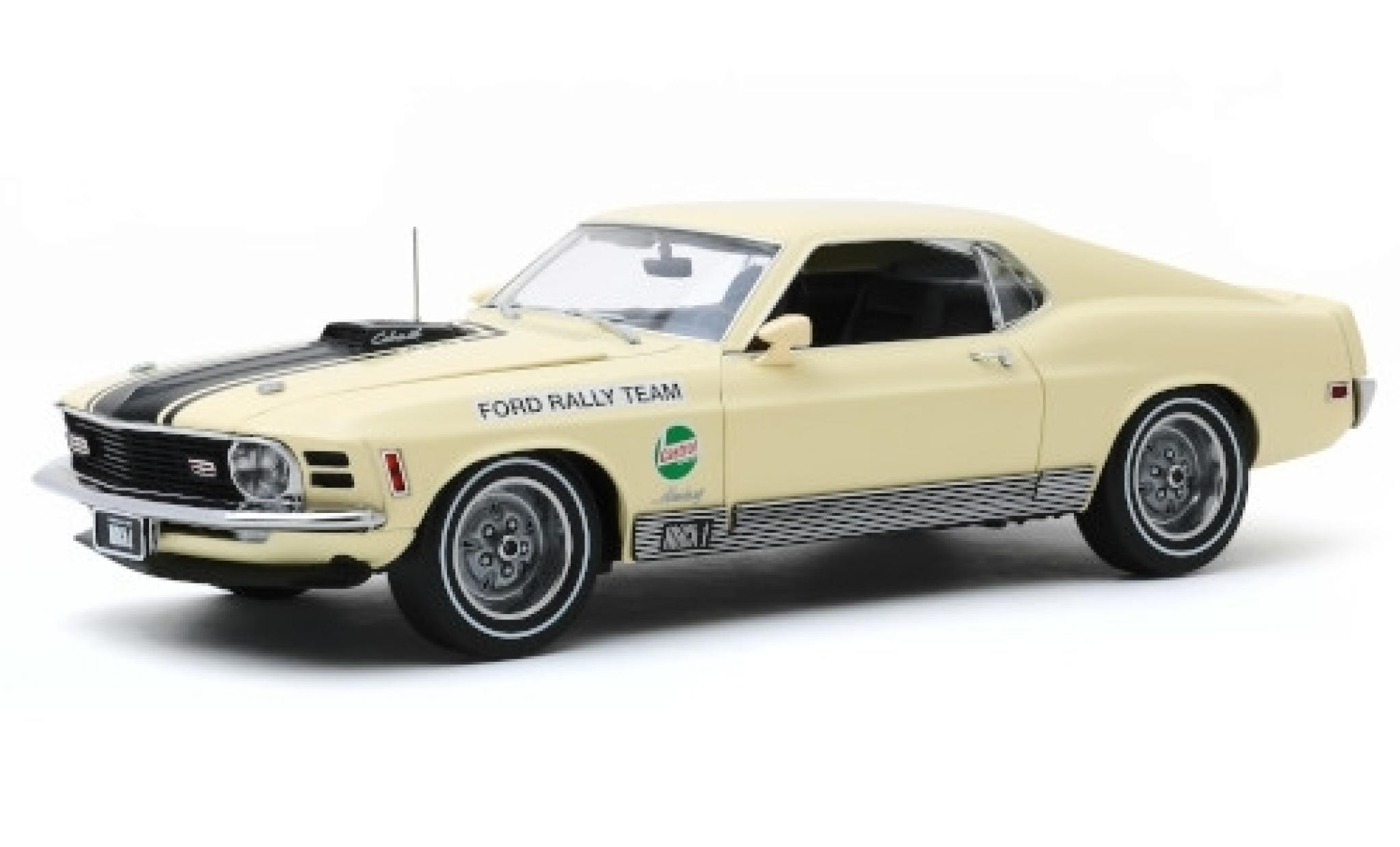 Ford Mustang 1/18 Greenlight Mach 1 428 beige/matt-noire Rally Team Castrol SCCA Manufacturers Road Rally 1970