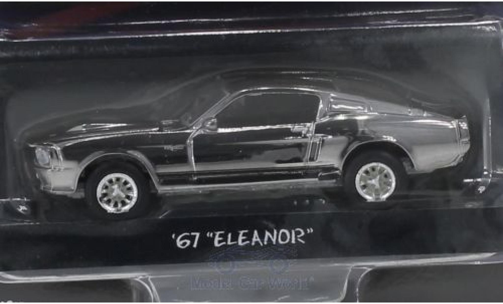 Ford Mustang 1/64 Greenlight Shelby GT500 chrom/noire Gone in 60 Seconds 1967 Eleanor