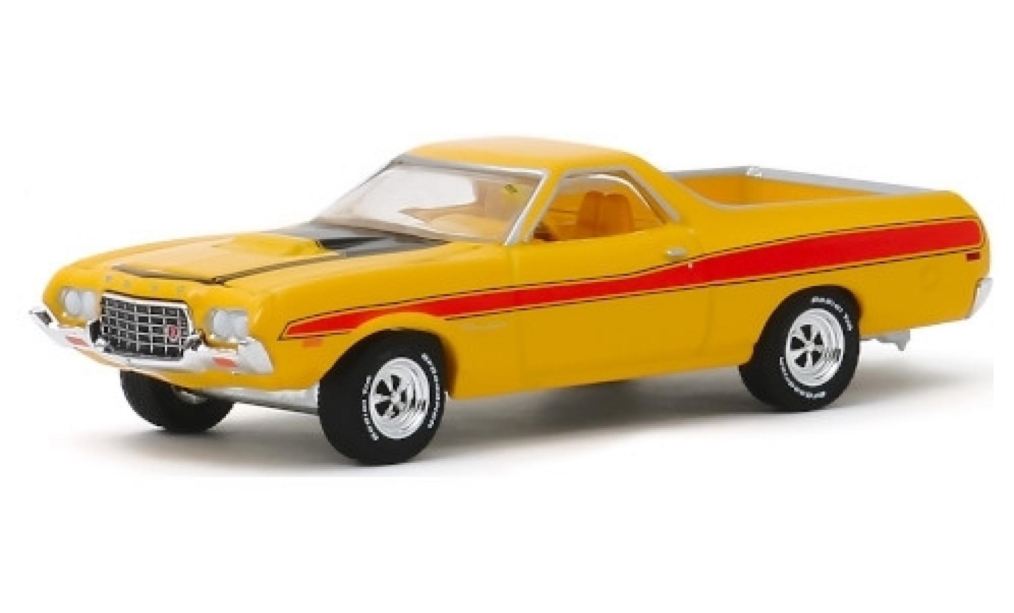 Ford Ranchero 1/64 Greenlight GT jaune/rouge 1972