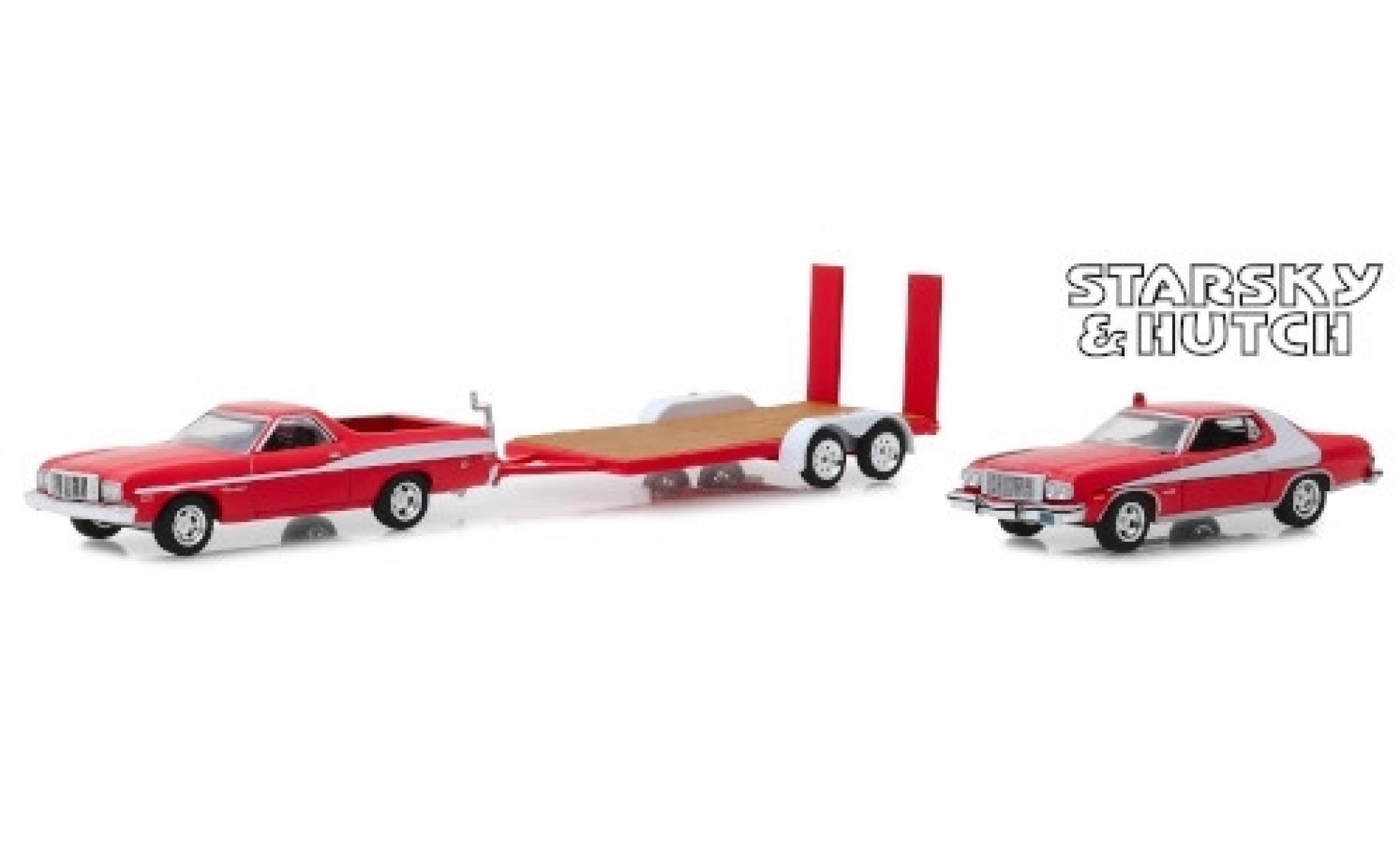 Ford Ranchero 1/64 Greenlight rouge/blanche Starsky & Hutch 1976 mit Gran Torino auf Zweiachshänger