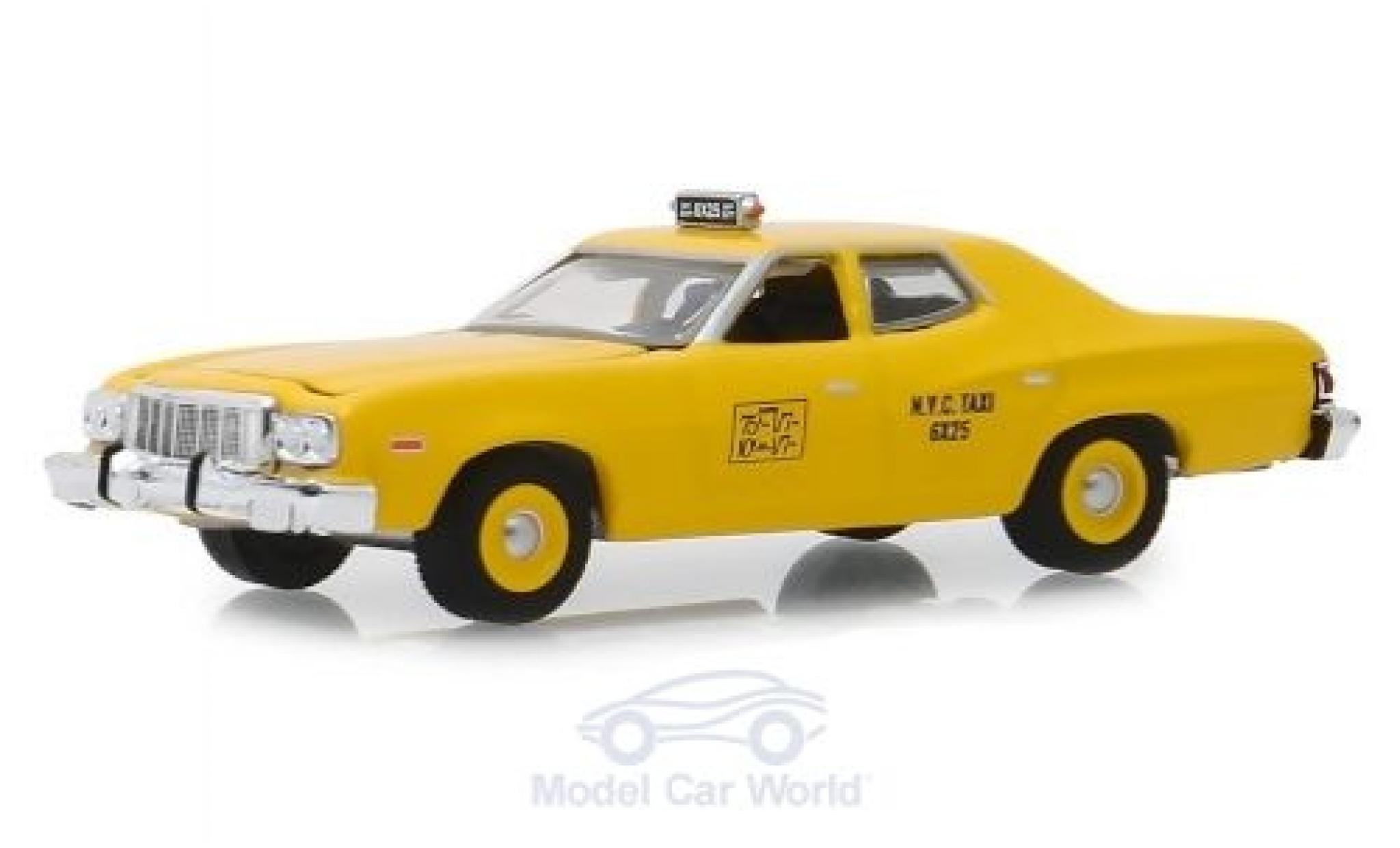 Ford Torino 1/64 Greenlight jaune NYC Taxi 1975