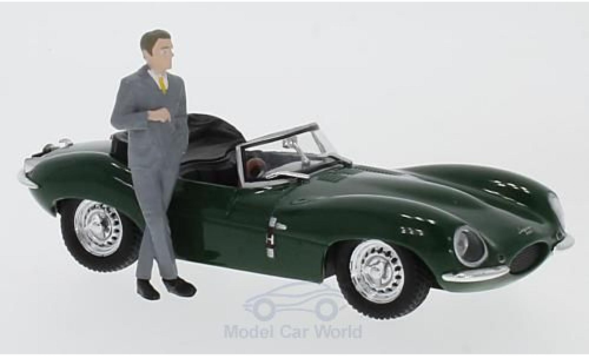 Jaguar XK SS 1/43 Greenlight verte RHD 1957 Steve McQueen Collection mit Fahrer Figur