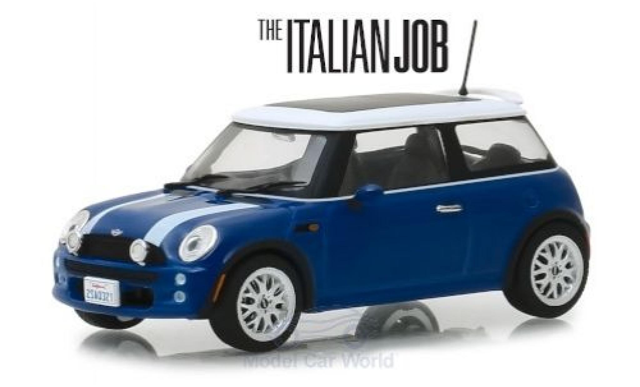 Mini Cooper 1/43 Greenlight bleue/blanche RHD The Italian Job 2003