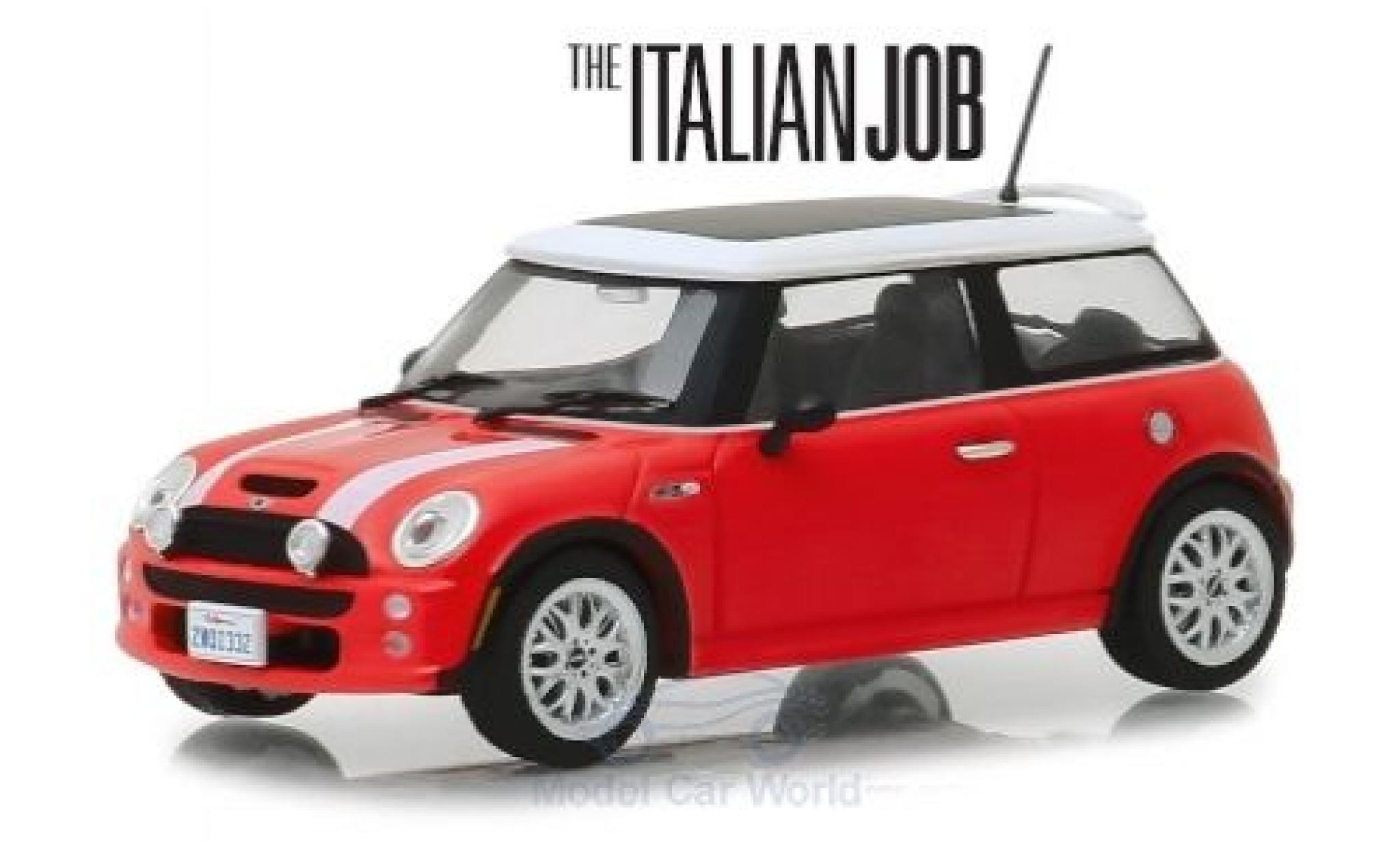Mini Cooper 1/43 Greenlight S rouge/blanche RHD The Italian Job 2003
