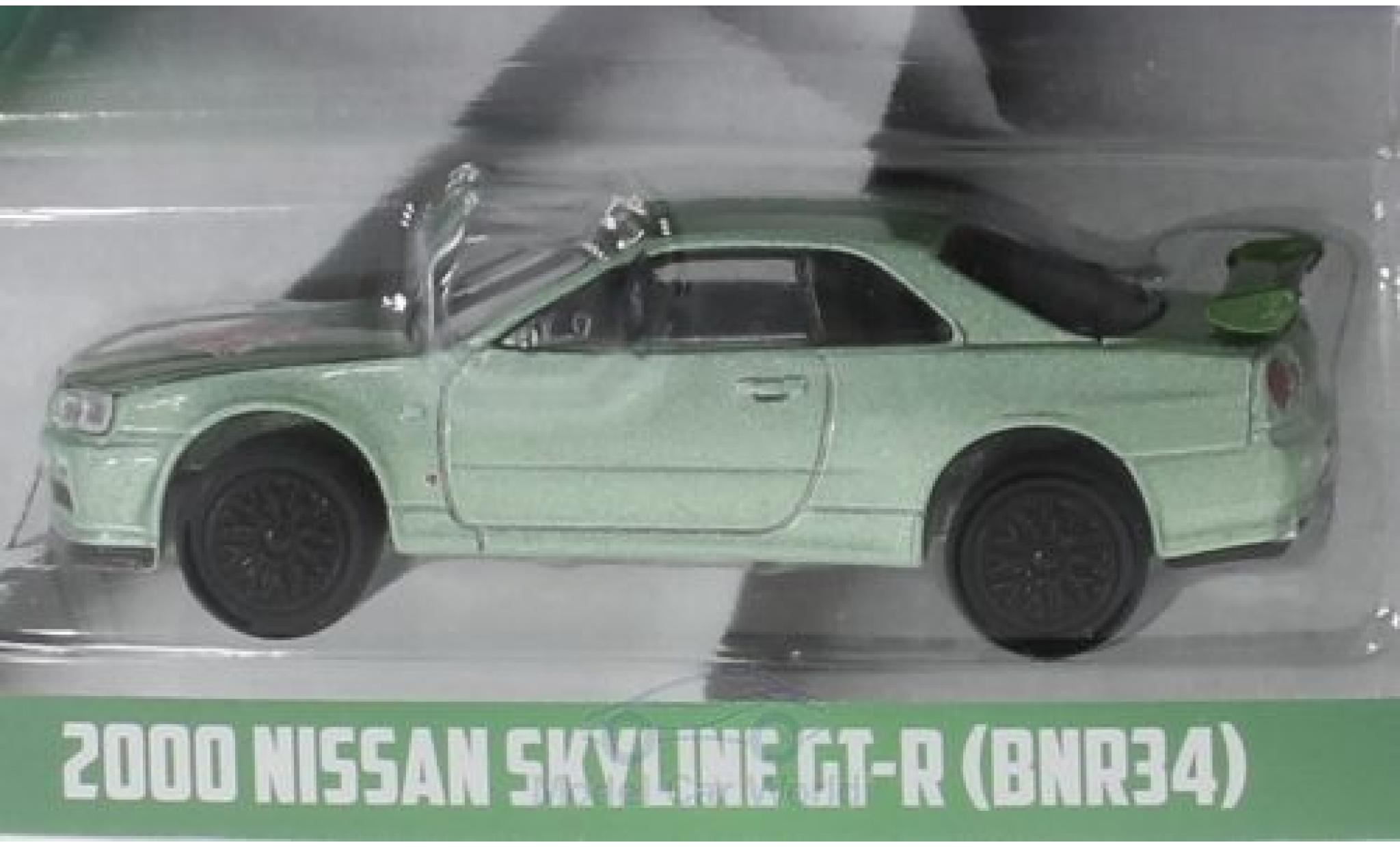 Nissan Skyline 1/64 Greenlight GT-R (BNR34) métallisé verte Turtle Wax 2000