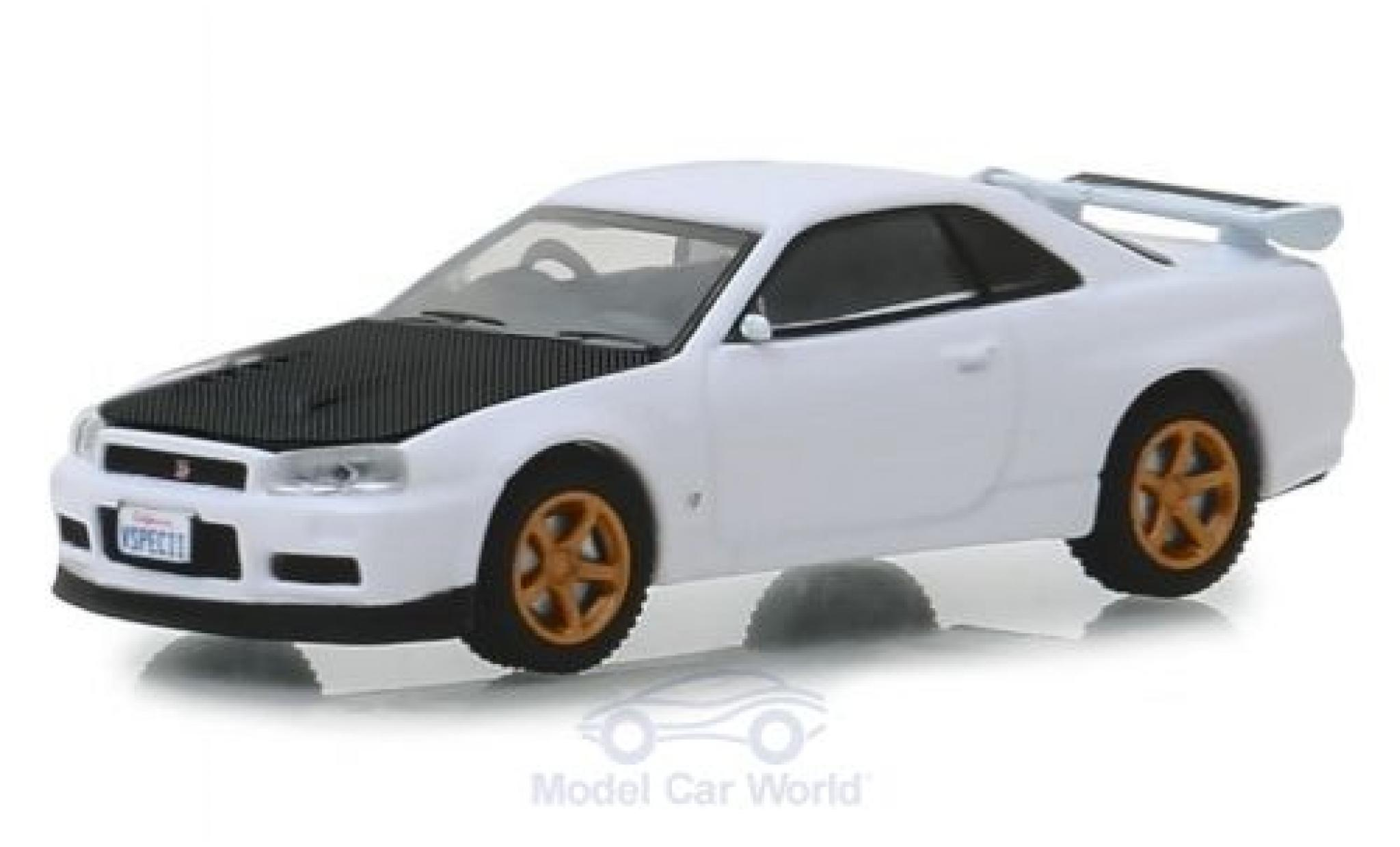 Nissan Skyline 1/64 Greenlight GT-R (BNR34) blanche/carbon 2001