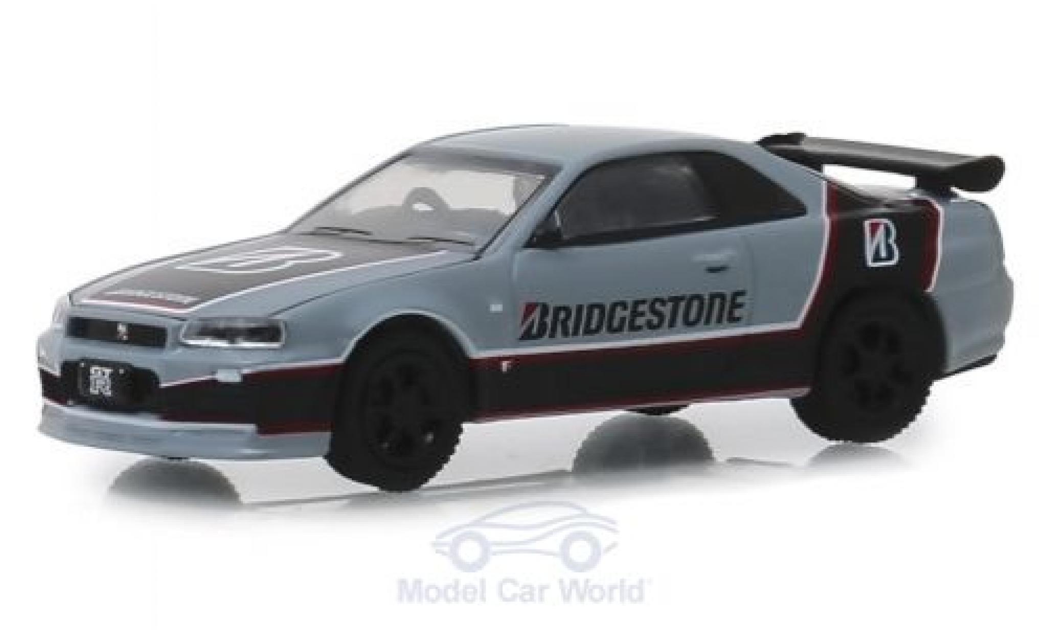 Nissan Skyline 1/64 Greenlight GT-R grise/noire Bridgestone 2001
