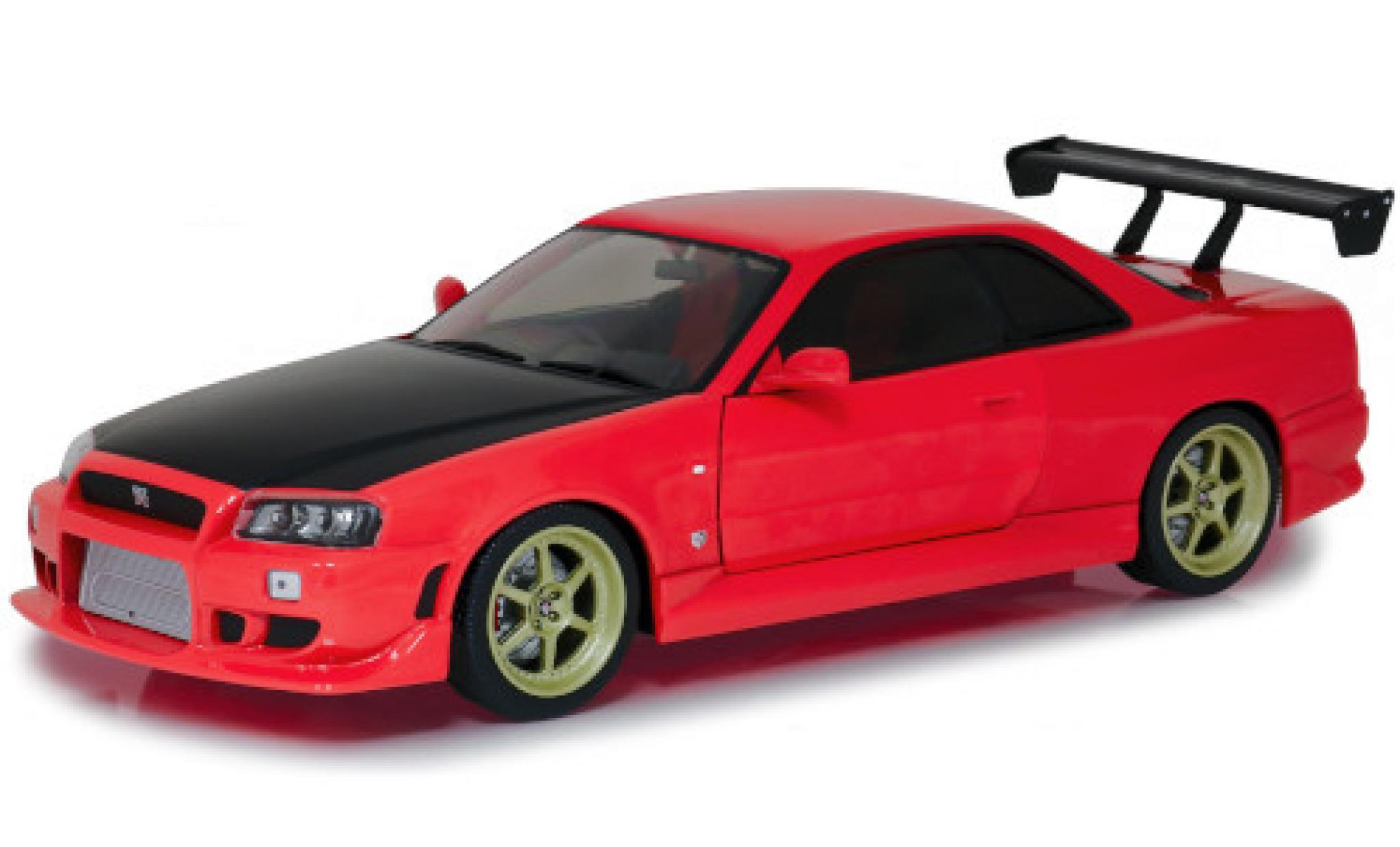 Nissan Skyline 1/18 Greenlight GT-R (R34) Tuning rouge/carbon RHD 1999 mit LED-Beleuchtung am Unterboden (Batterien nicht enthalten)