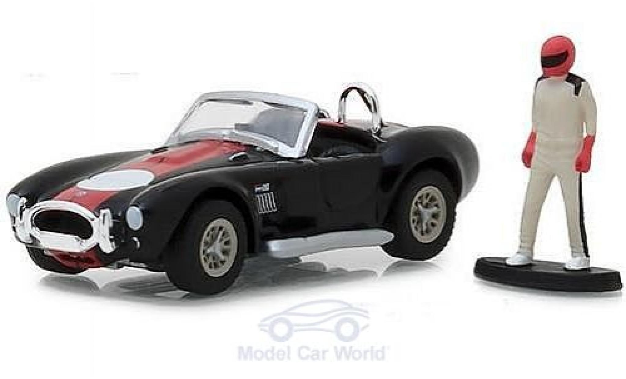 Shelby Cobra 1/64 Greenlight 427 S/C noire/rouge 1965 mit Rennfahrer