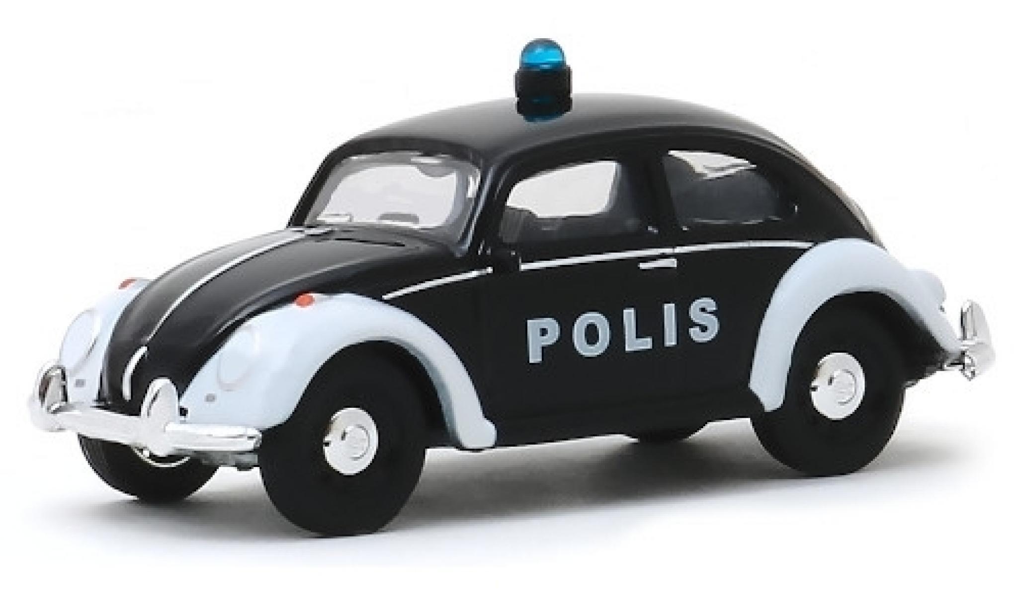Volkswagen Beetle 1/64 Greenlight (Käfer) noire/blanche Polis