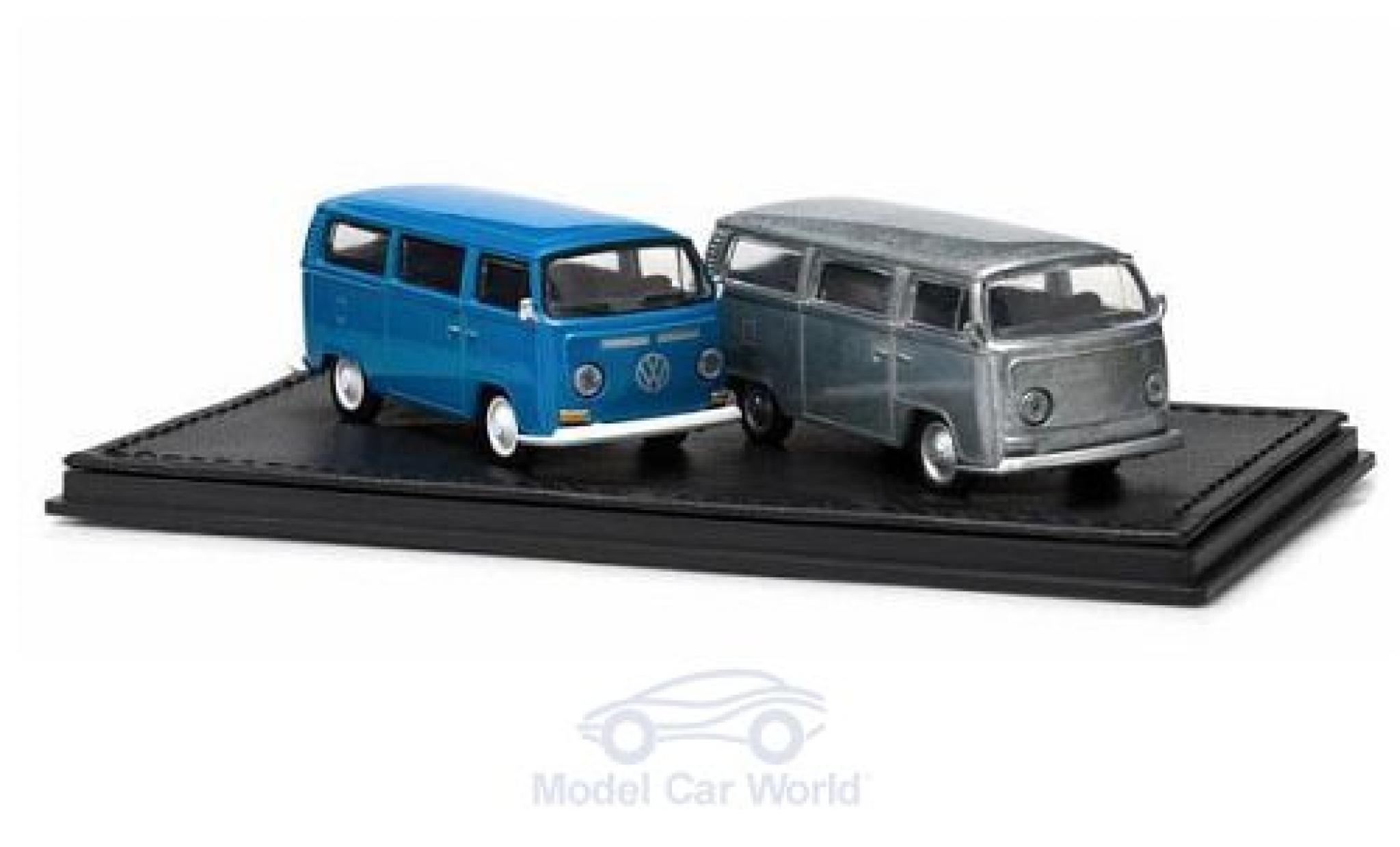 Volkswagen T2 1/64 Greenlight Bus 2er-Set blue/aluminium