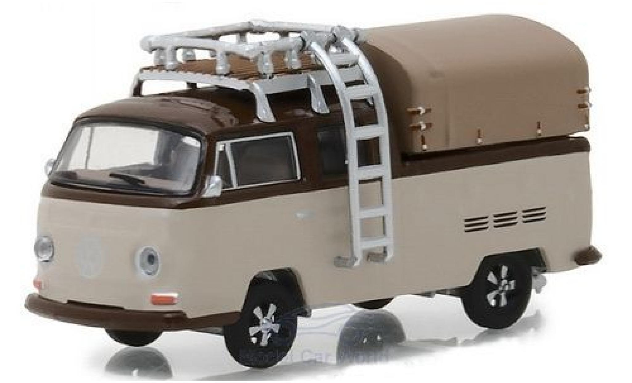 Volkswagen T2 B 1/64 Greenlight Double Cab Pick Up brown/brown 1969 mit Dachgepäckträger