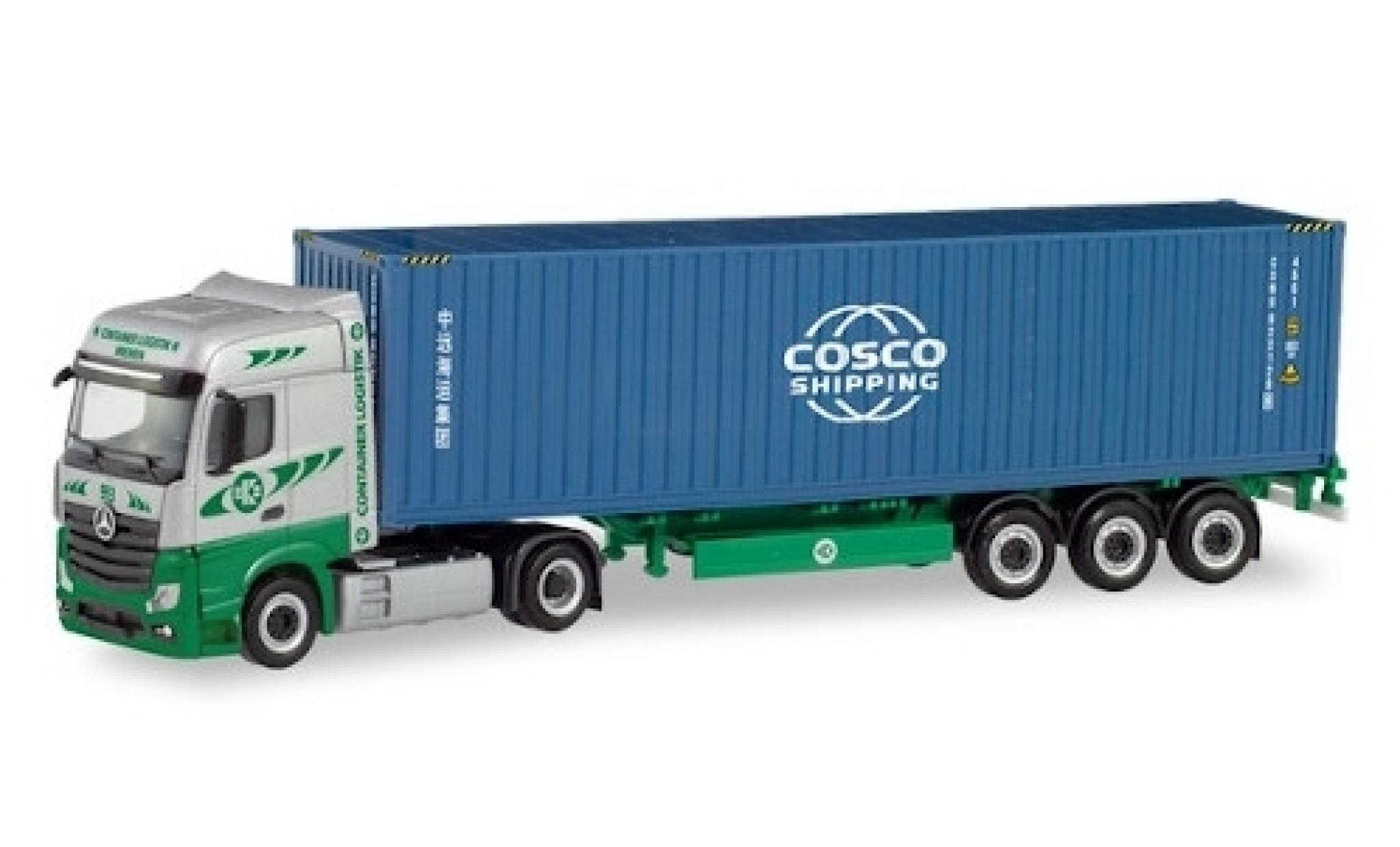 Mercedes Actros 1/87 Herpa 6x2 Bigspace EKB / Cosco Container-Sattelzug