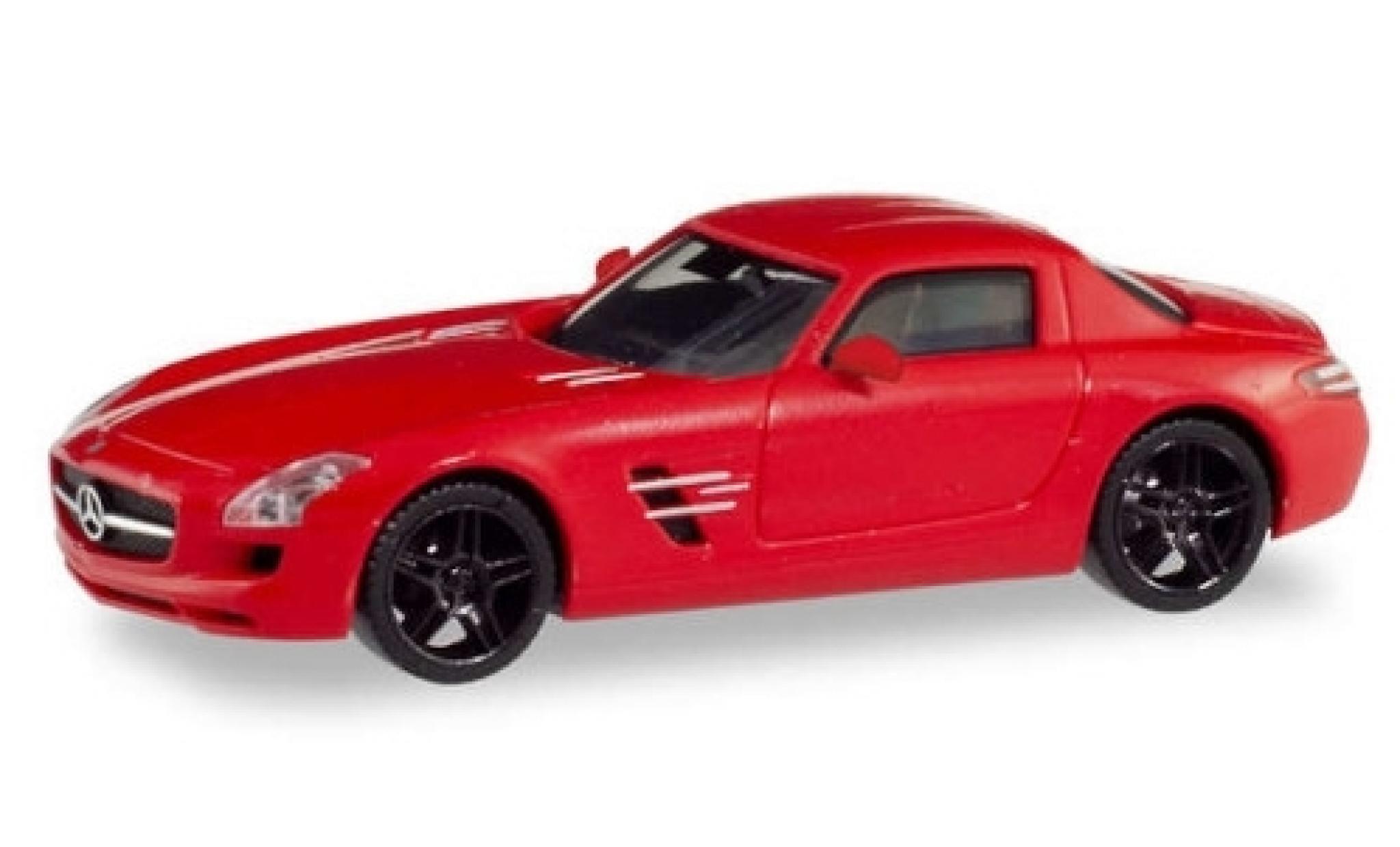 Mercedes SLS 1/87 Herpa AMG (C197) metallise rouge avec noire jantes