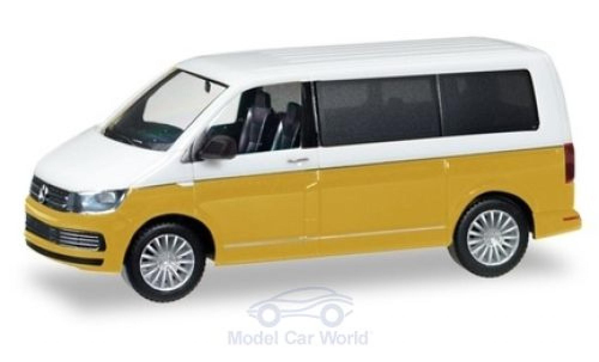 Volkswagen T6 1/87 Herpa Multivan Bicolor blanche/metallise jaune