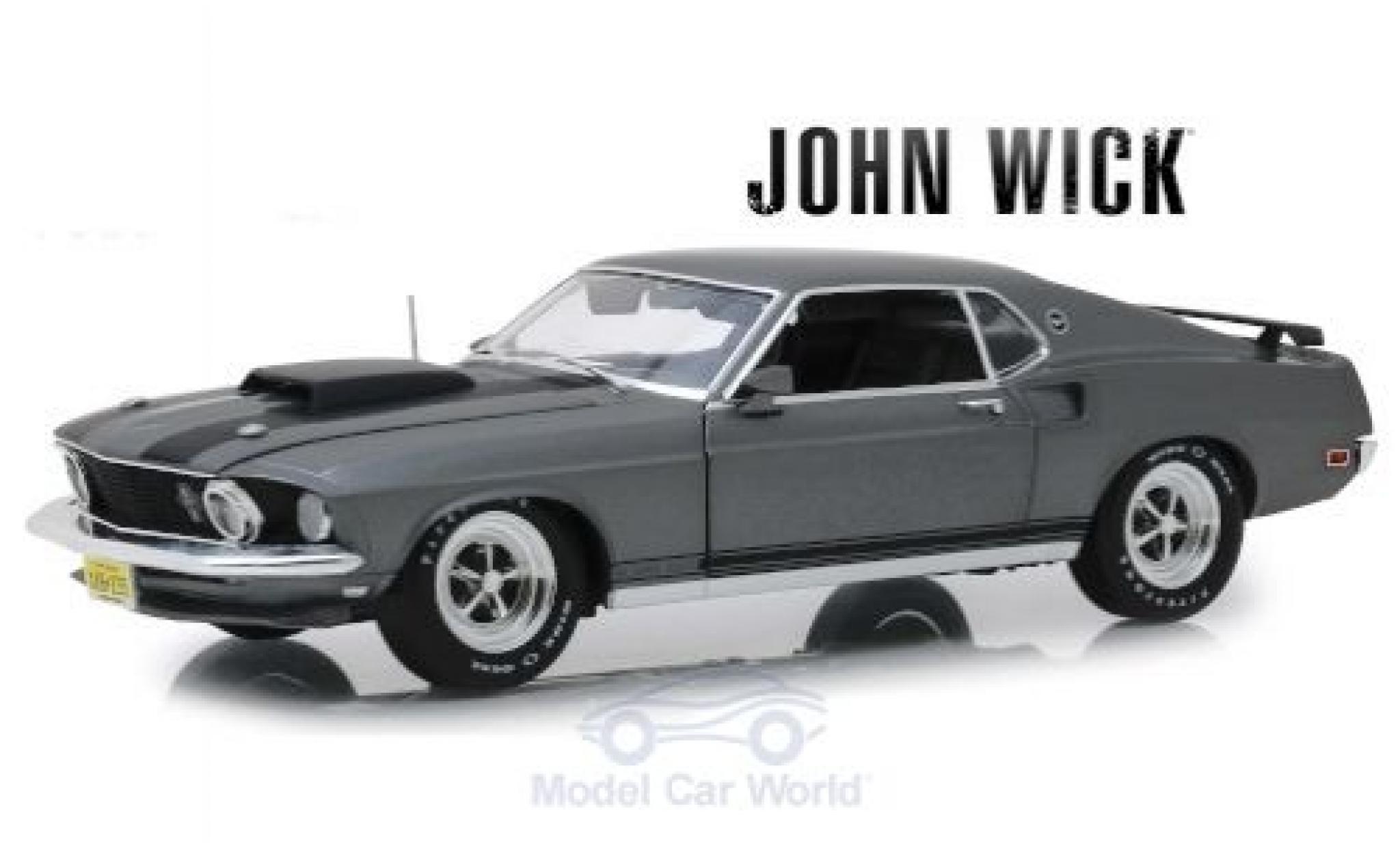 Ford Mustang 1/18 Highway 61 BOSS 429 métallisé grise/matt-noire John Wick 1969