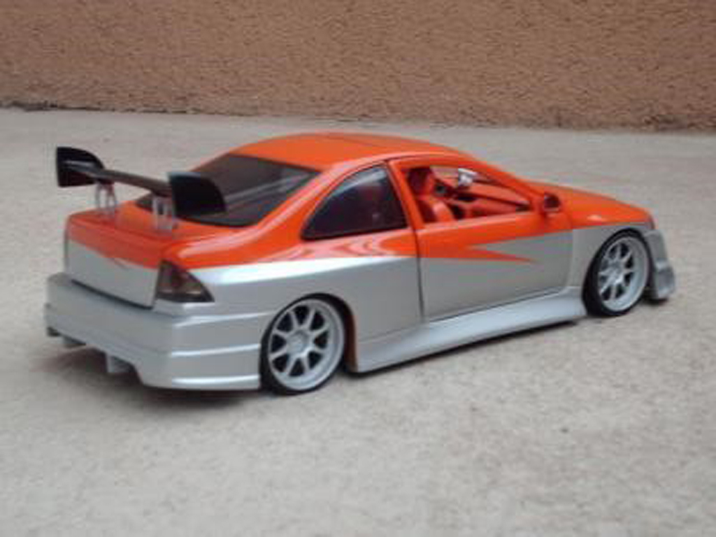 Honda Civic 1/18 Ertl parougeech orange grise tuning miniature
