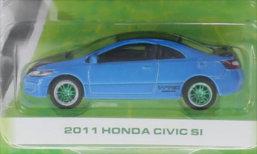 Honda Civic 1/64 Greenlight SI Special Version bleu/noire 2011 miniature