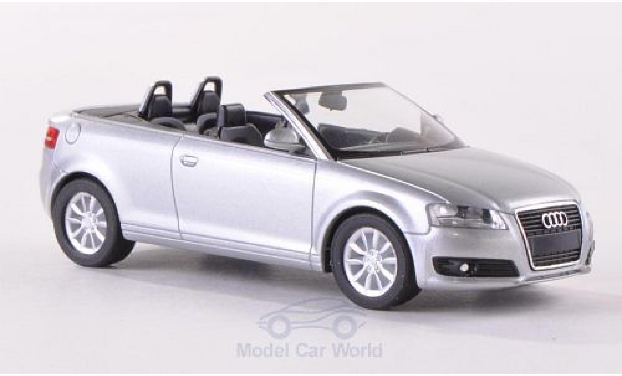 Audi A3 1/87 Herpa Cabriolet (8P) grise 2008 Verdeck geöffnet