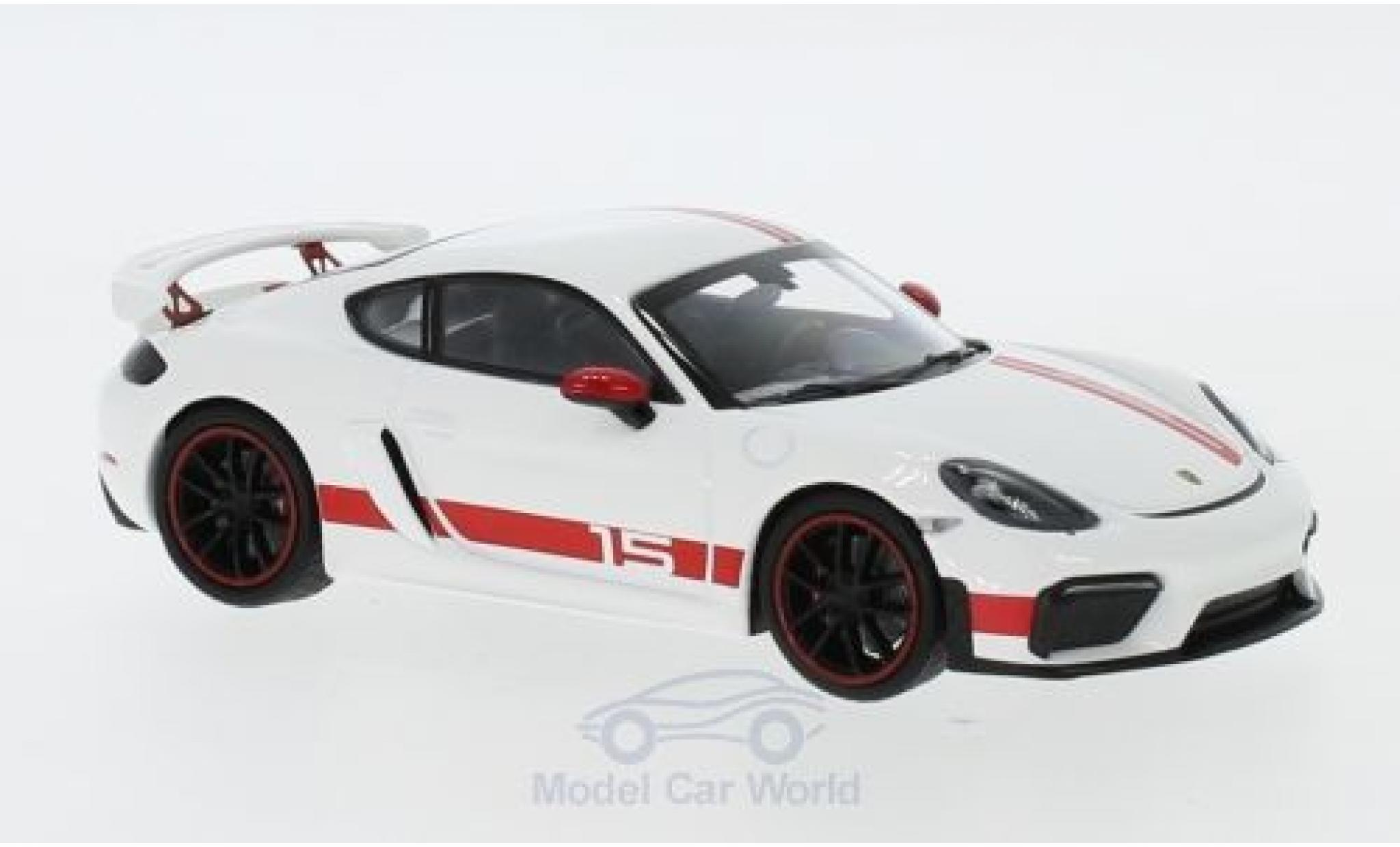 Porsche 718 1/43 I Minichamps Cayman GT4 Sports Cup Edition blanche/rouge 2019