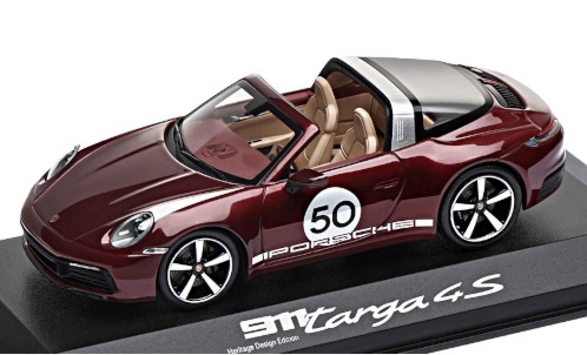 Porsche 911 1/43 I Minichamps Targa 4S metallise rot/Dekor No.50 Heritage Design Edition