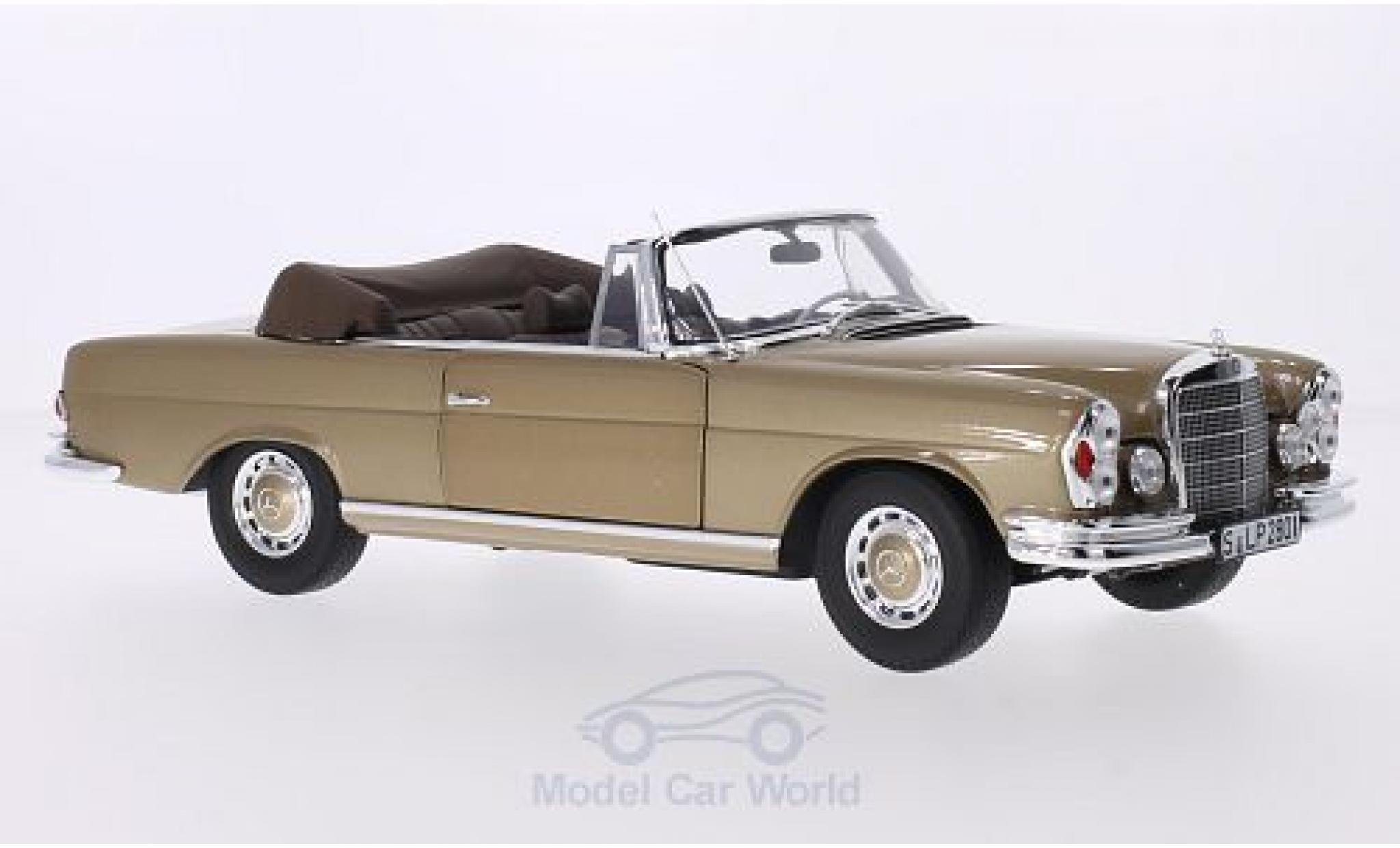 Mercedes 280 1/18 I Norev SE (W111) Cabriolet métallisé beige Softtop liegt bei