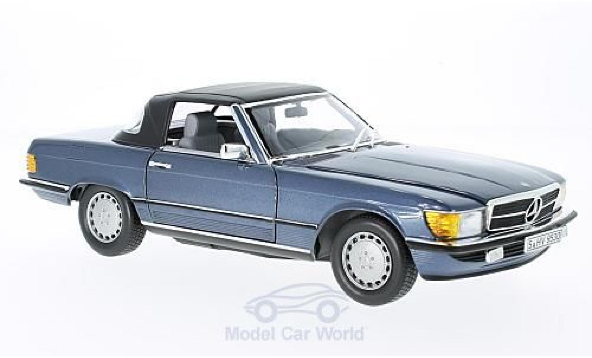 Mercedes 300 SL 1/18 Norev SL (R107) metallic-bleue 1985
