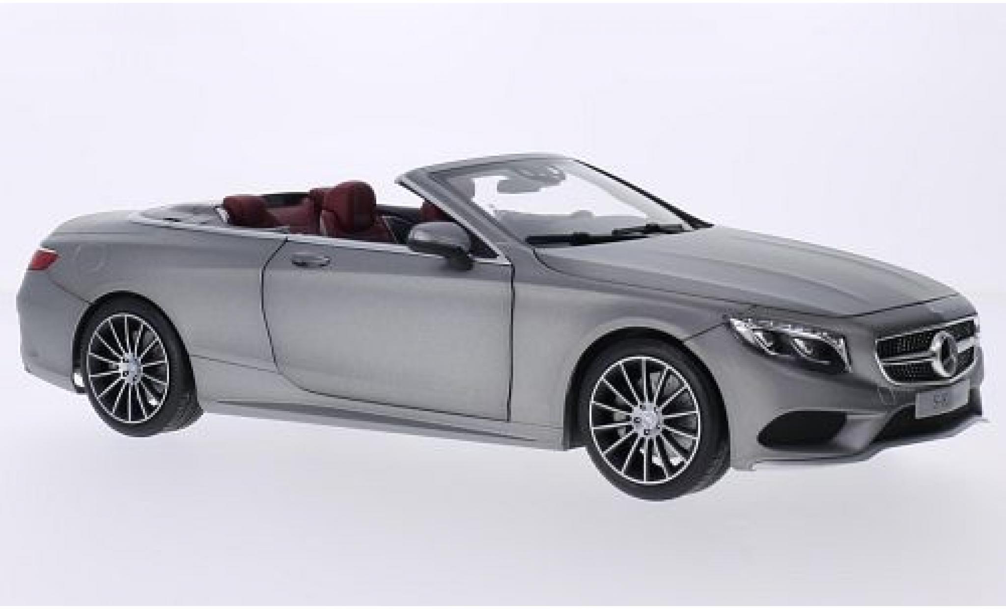 Mercedes Classe S 1/18 I Norev Cabriolet (A127) grise Softtop couché avec