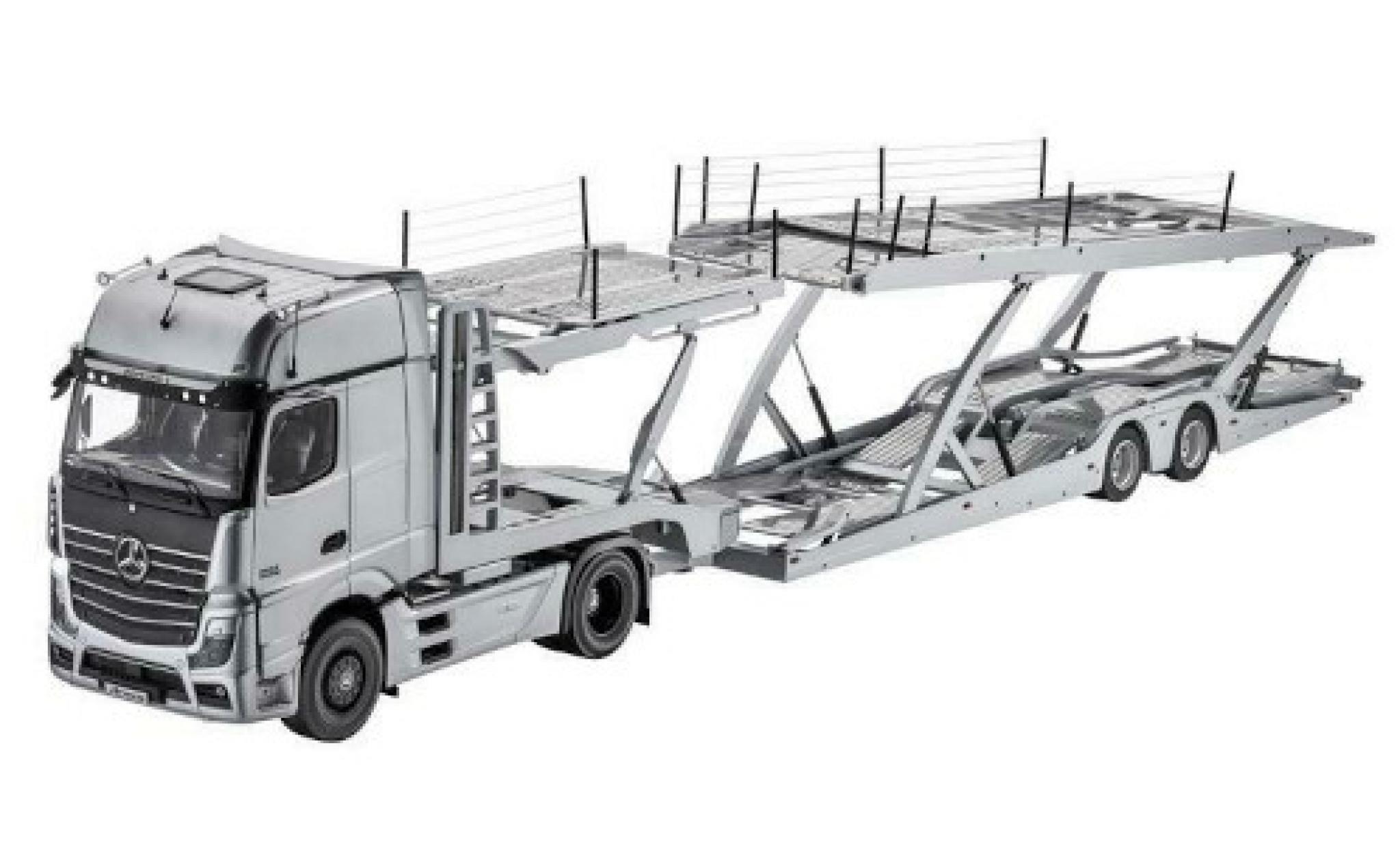 Mercedes Actros 1/18 I NZG Autotransporter grise avec Lohr remorque