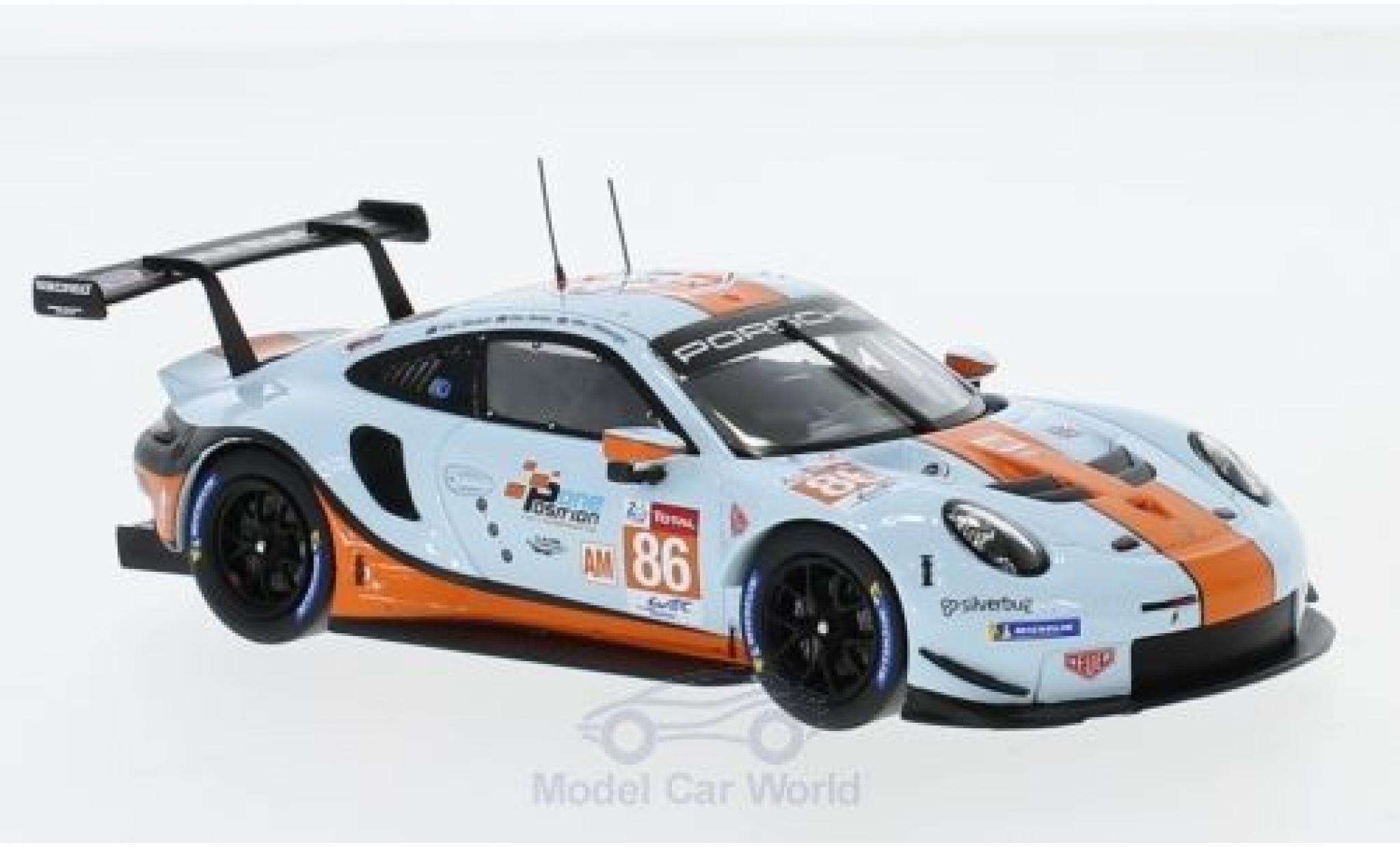 Porsche 991 RSR 1/43 Spark 911 ( II) No.86 Gulf Racing Gulf WEC 2018 M.Wainwright/B.Barker/A.Davison