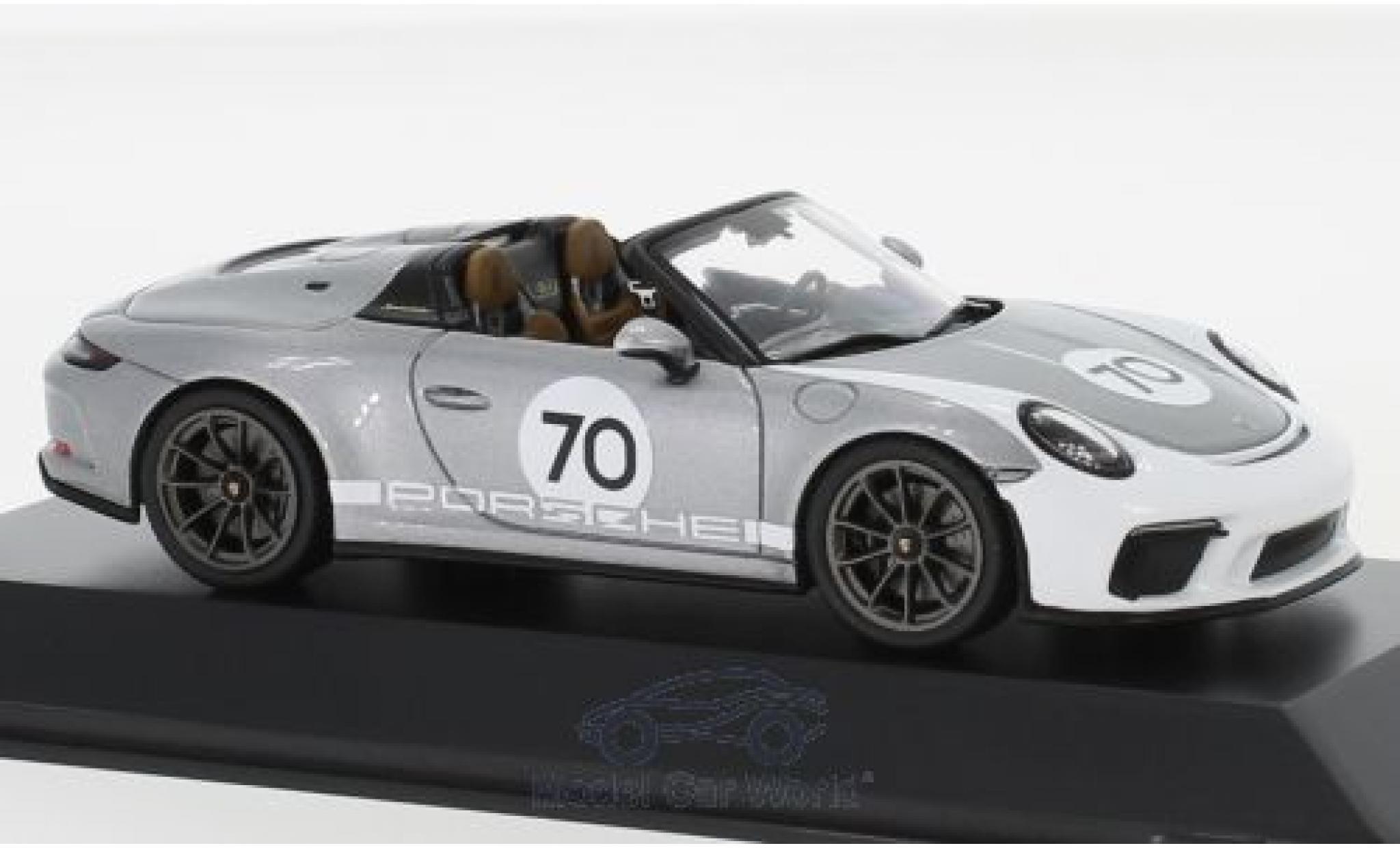 Porsche 911 1/43 I Spark (991 II) Speedster grise/blanche 2019 #70 Heritage Design Package