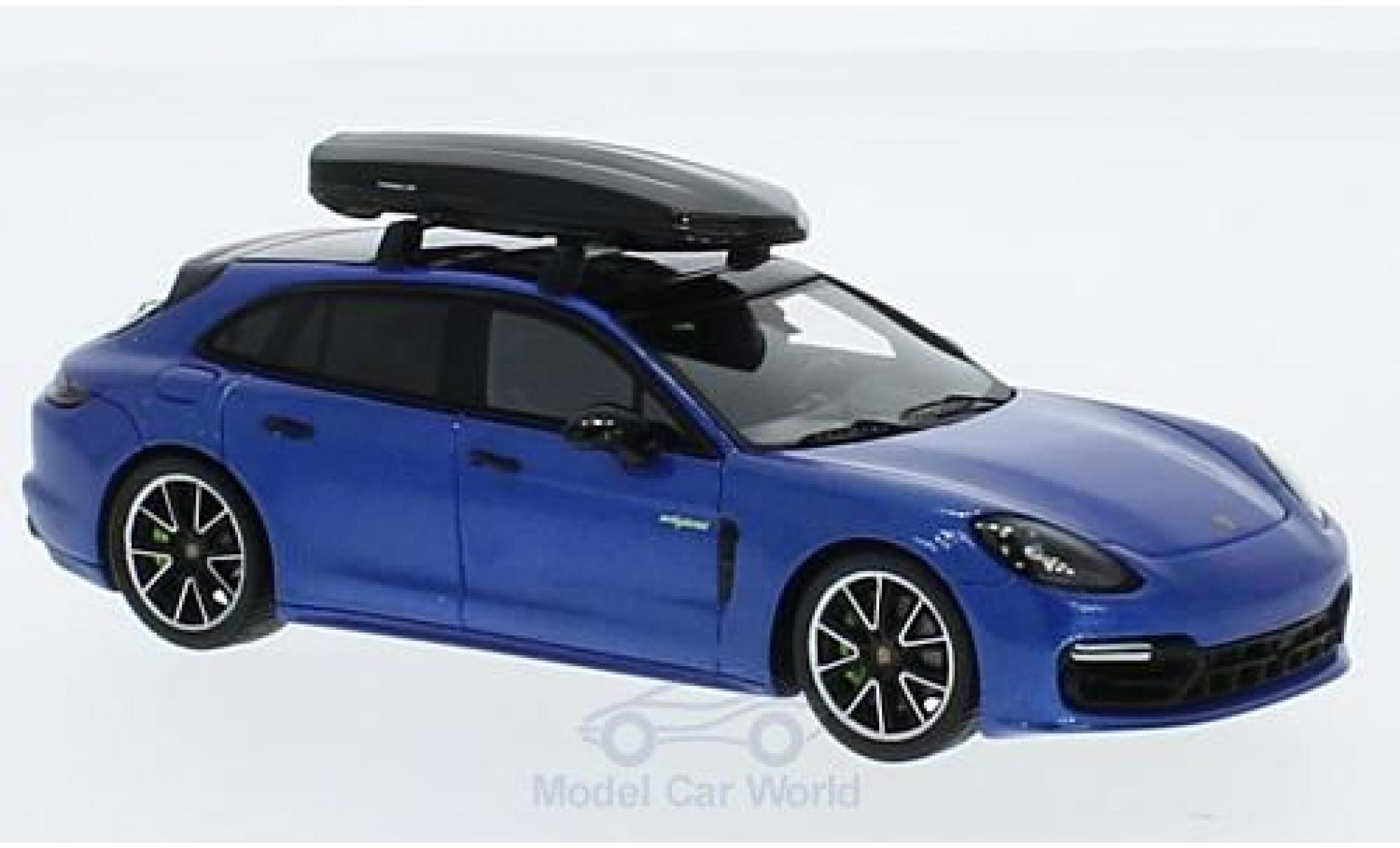 Porsche Panamera 1/43 Spark 4 E-Hybrid Sport Turismo metallic-bleue mit Dachbox