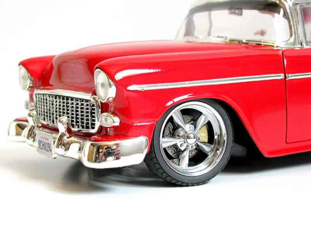 Chevrolet Bel Air 1955 1/18 Ertl hot rod rojo et gris tuning coche miniatura