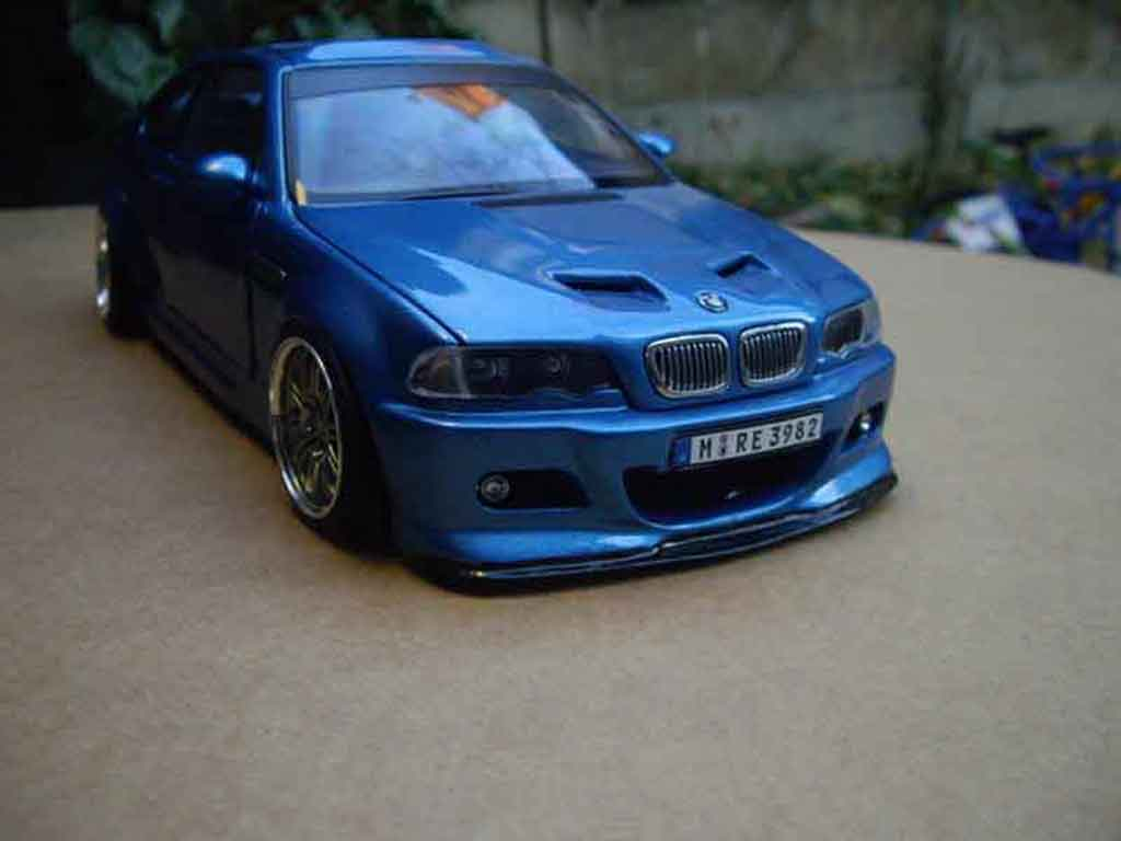 Bmw M3 E46 1/18 Autoart tuning kit carrosserie bleu metallized tuning diecast model cars
