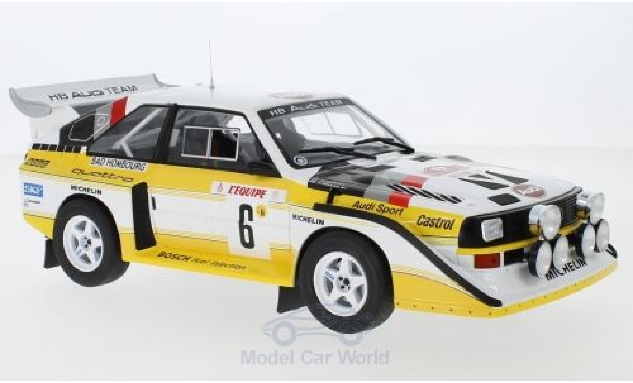 Audi Sport Quattro 1/18 IXO Sport quattro S1 E2 No.6 HB Team HB Rallye WM Rallye Monte Carlo 1986 mit Decals H.Mikkola/A.Hertz