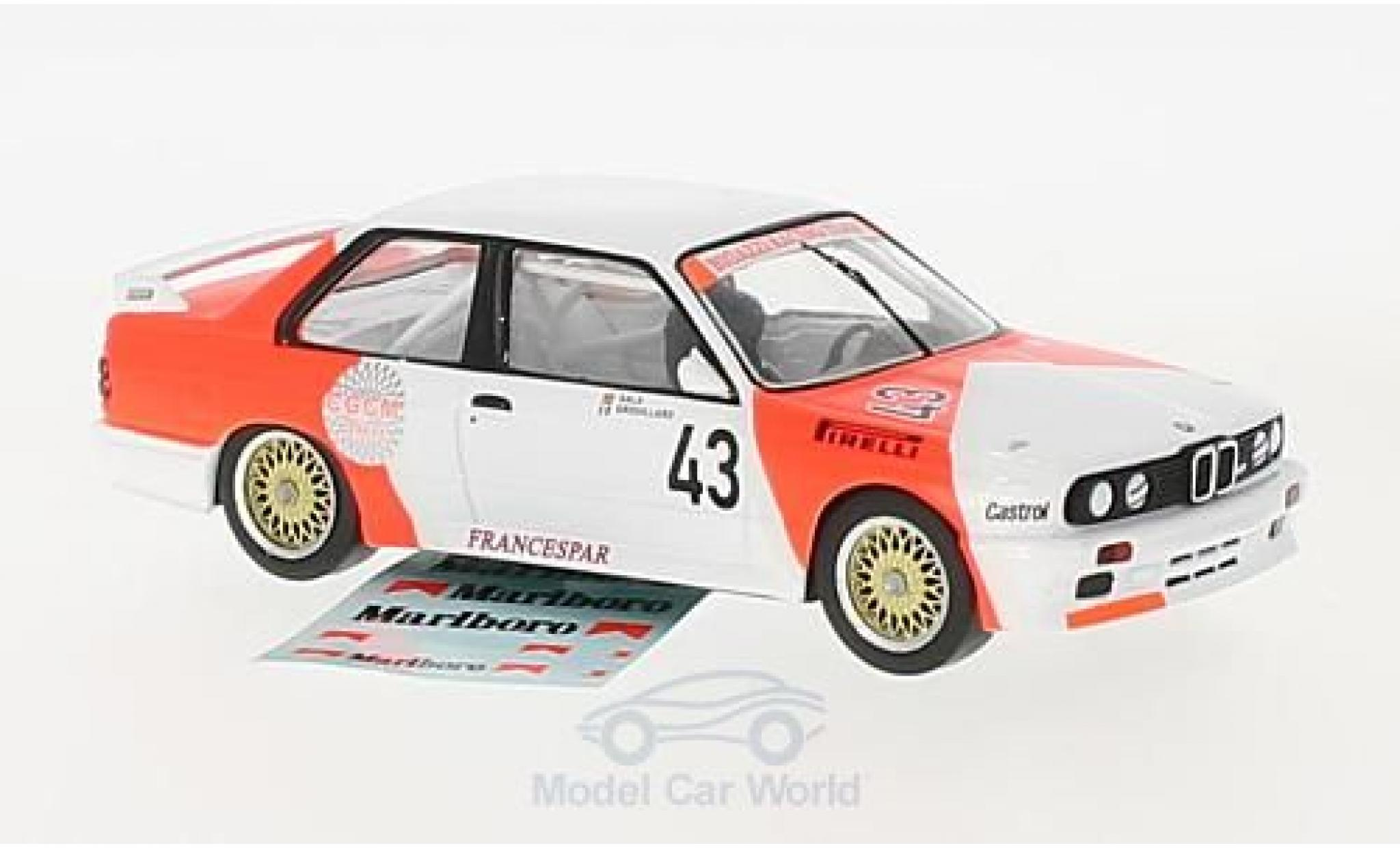 Bmw M3 E30 1/43 IXO BMW (E30) No.43 Bigazzi Racing Team Marlboro WTCC 1987 mit Decals L.-P.Sala/O.Grouillard