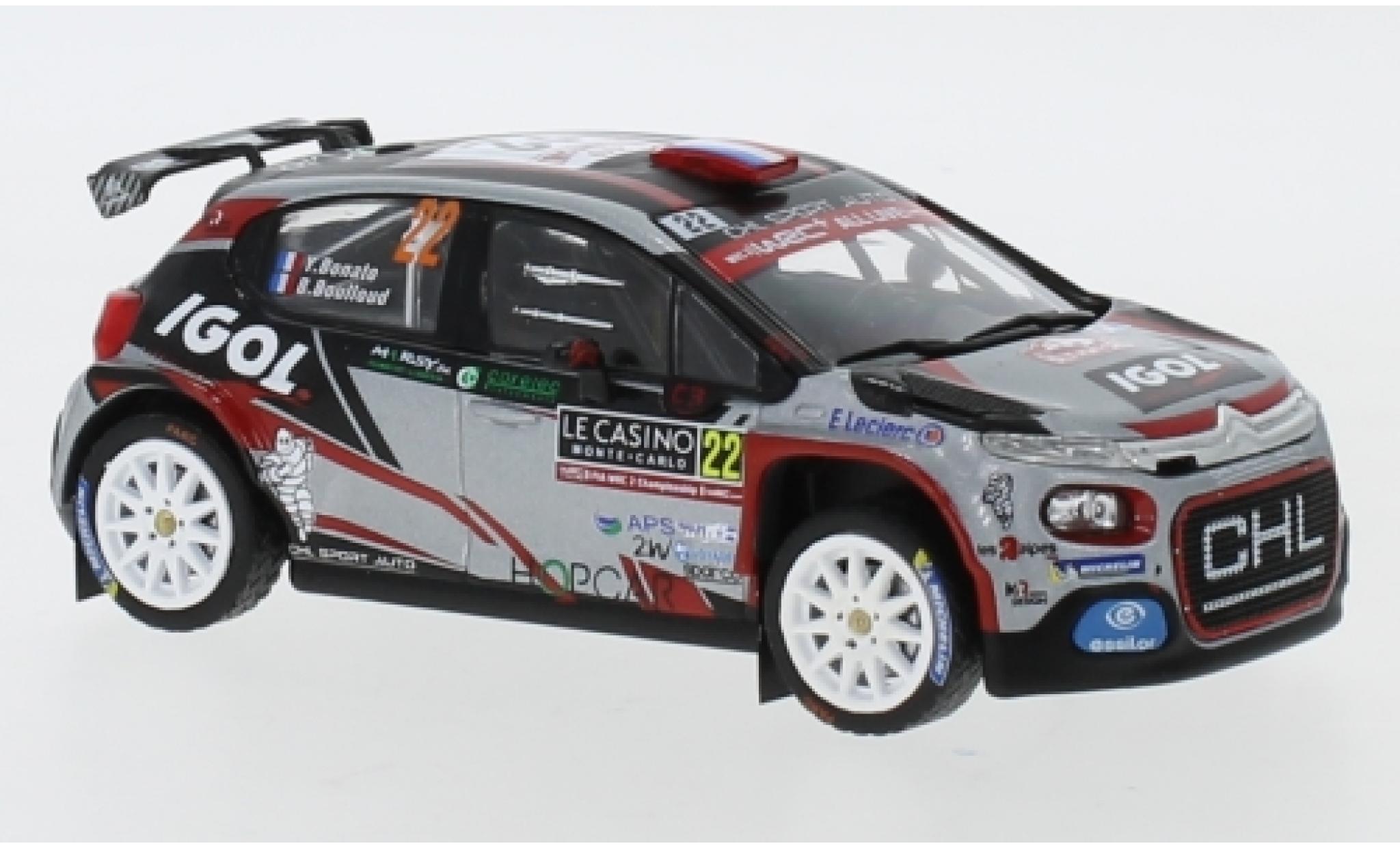 Citroen C3 1/43 IXO R5 No.22 CHL Sport Auto IGOL Rallye Monte Carlo 2019 Y.Bonato/B.Boulloud