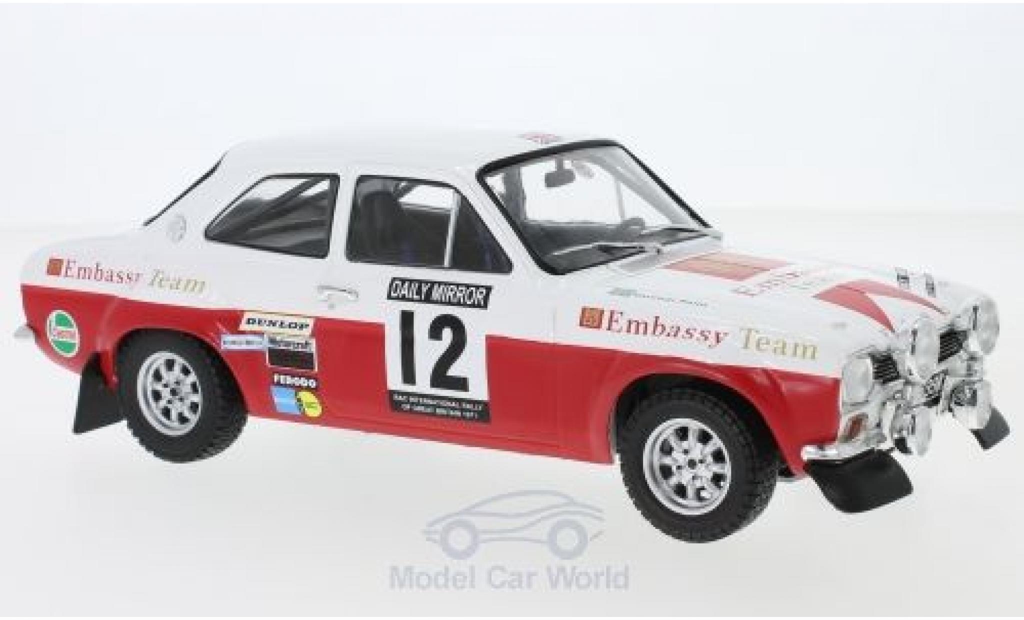 Ford Escort 1/18 IXO MK1 RS 1600 No.12 Embassy RAC Rallye 1971 H.Mikkola/G.Palm